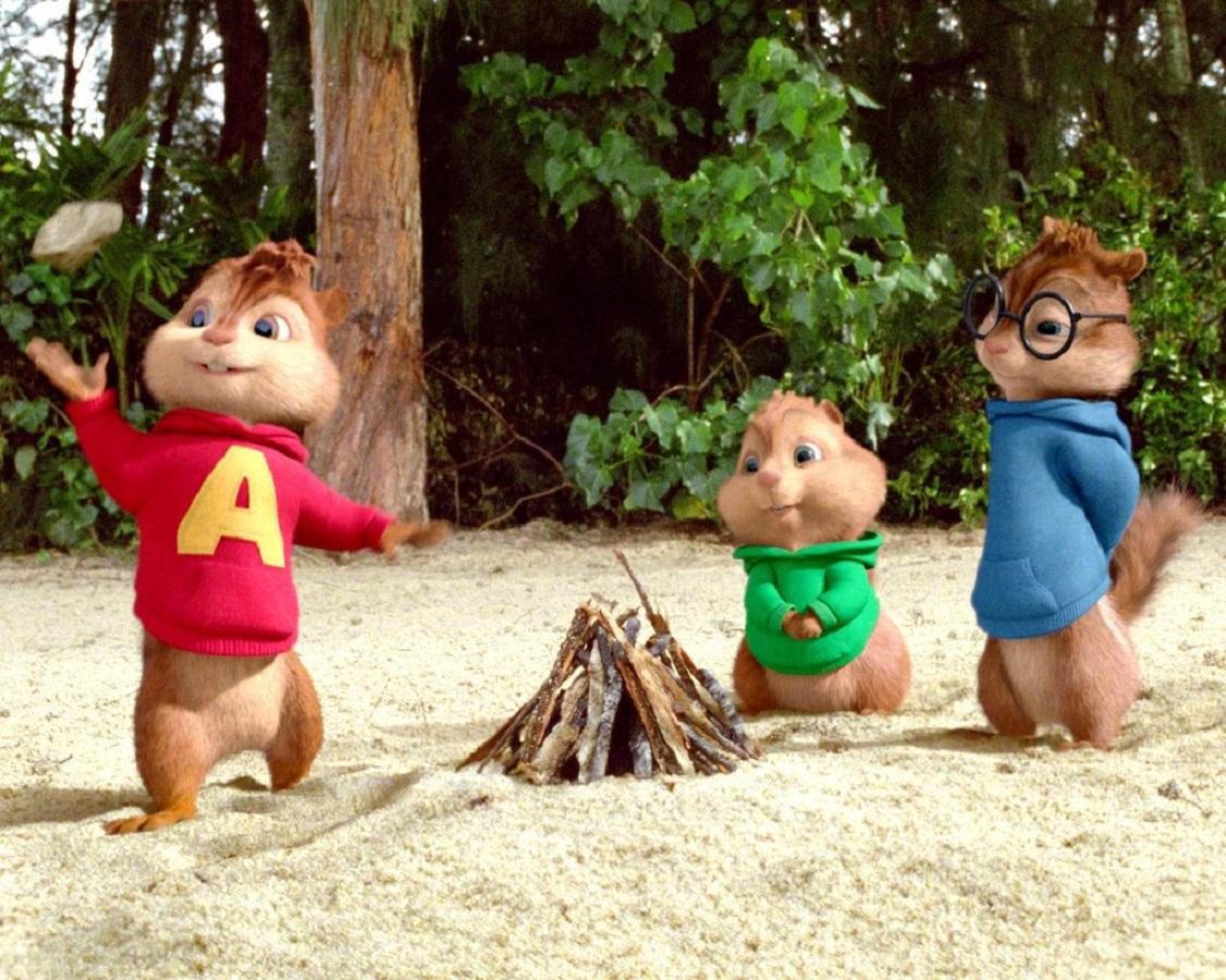 Alvin and the Chipmunks stranded on a desert island in Alvin and the Chipmunks: Chipwrecked (2011)