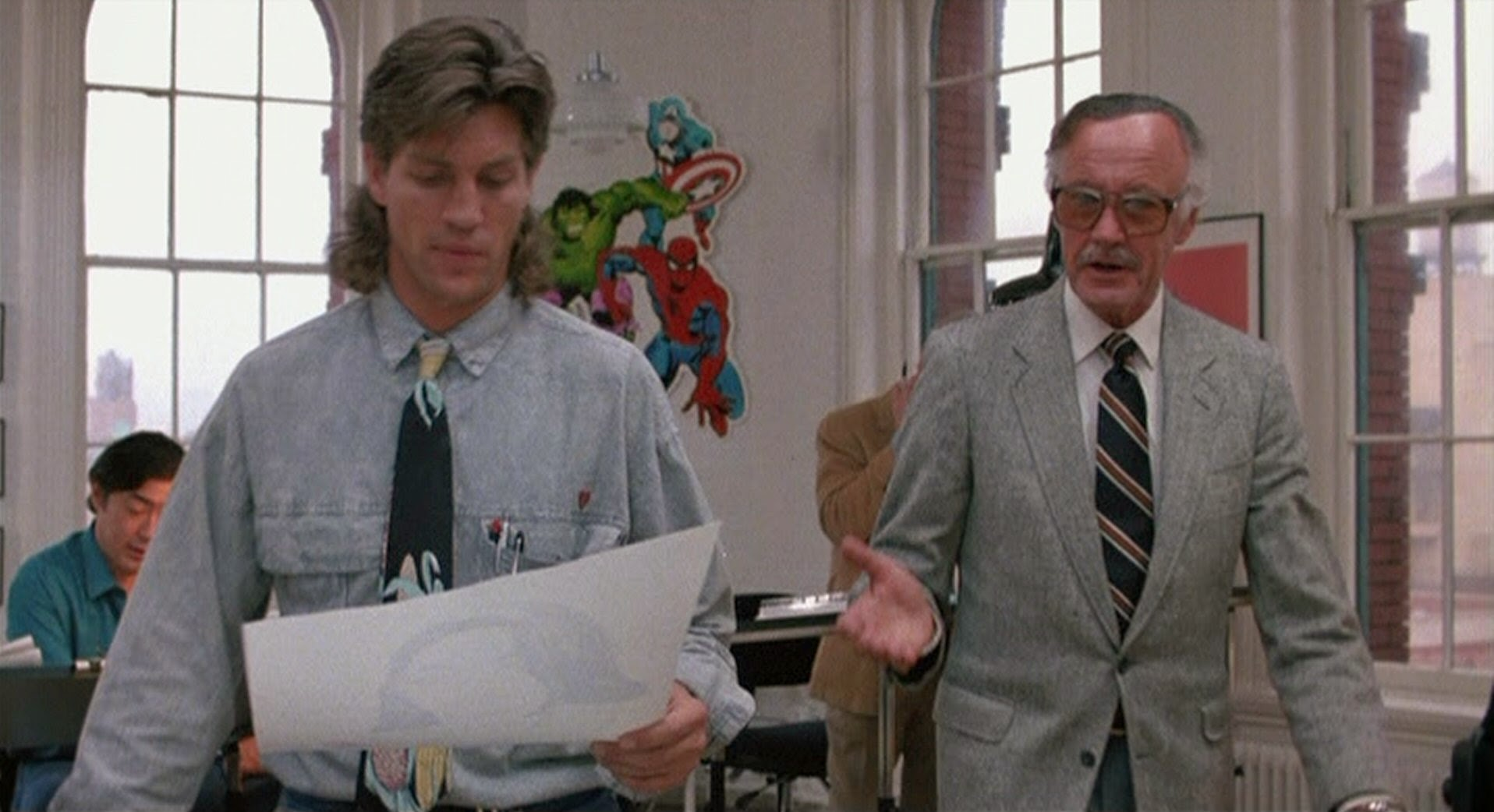 (l to r) comic-book artist Eric Roberts and a cameo from Marvel Comics' Stan Lee in The Ambulance (1990)