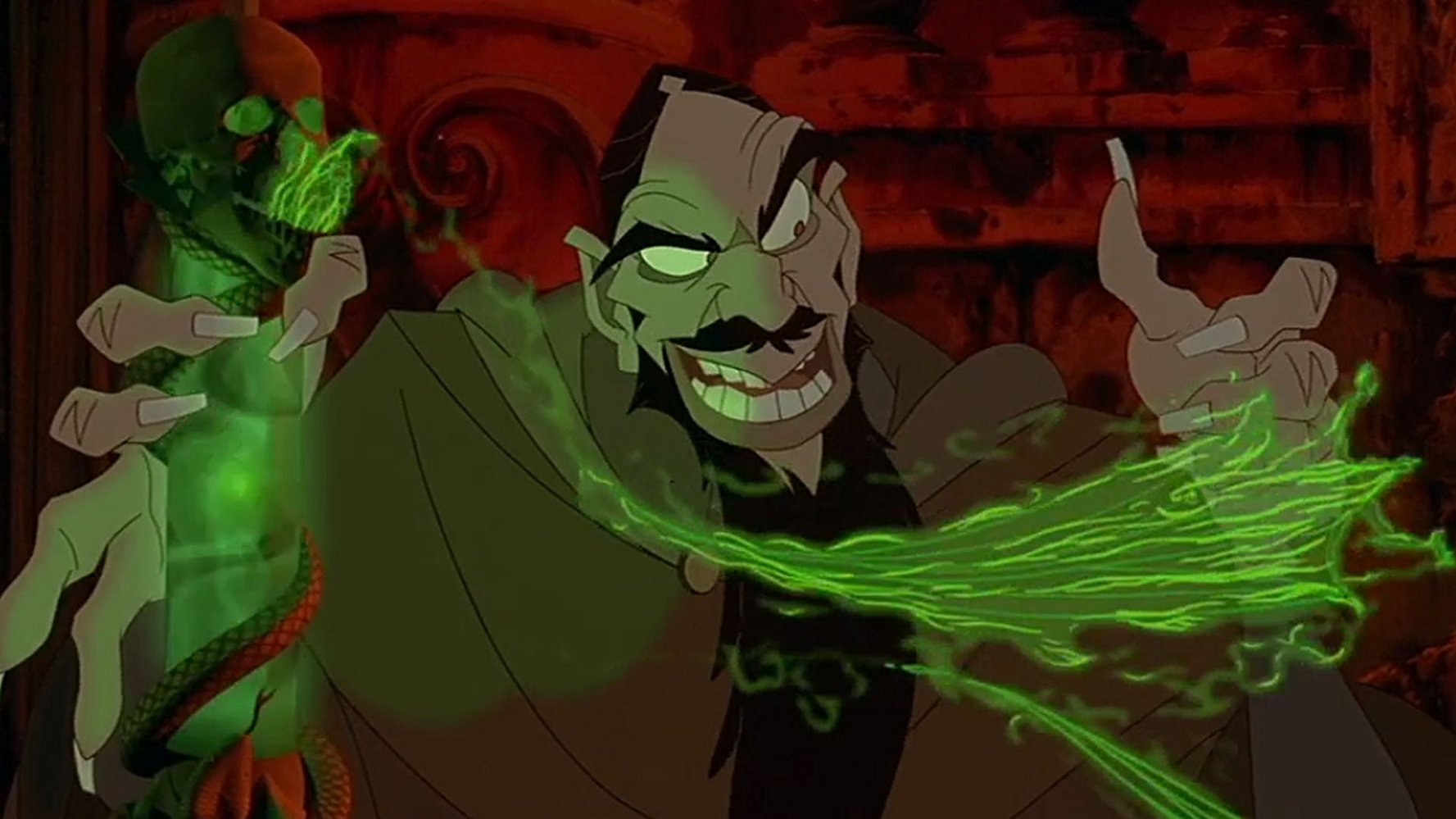 The evil Rasputin (voiced by Christopher Lloyd) - the historical monk rewritten as a black sorcerer in Anastasia (1997)