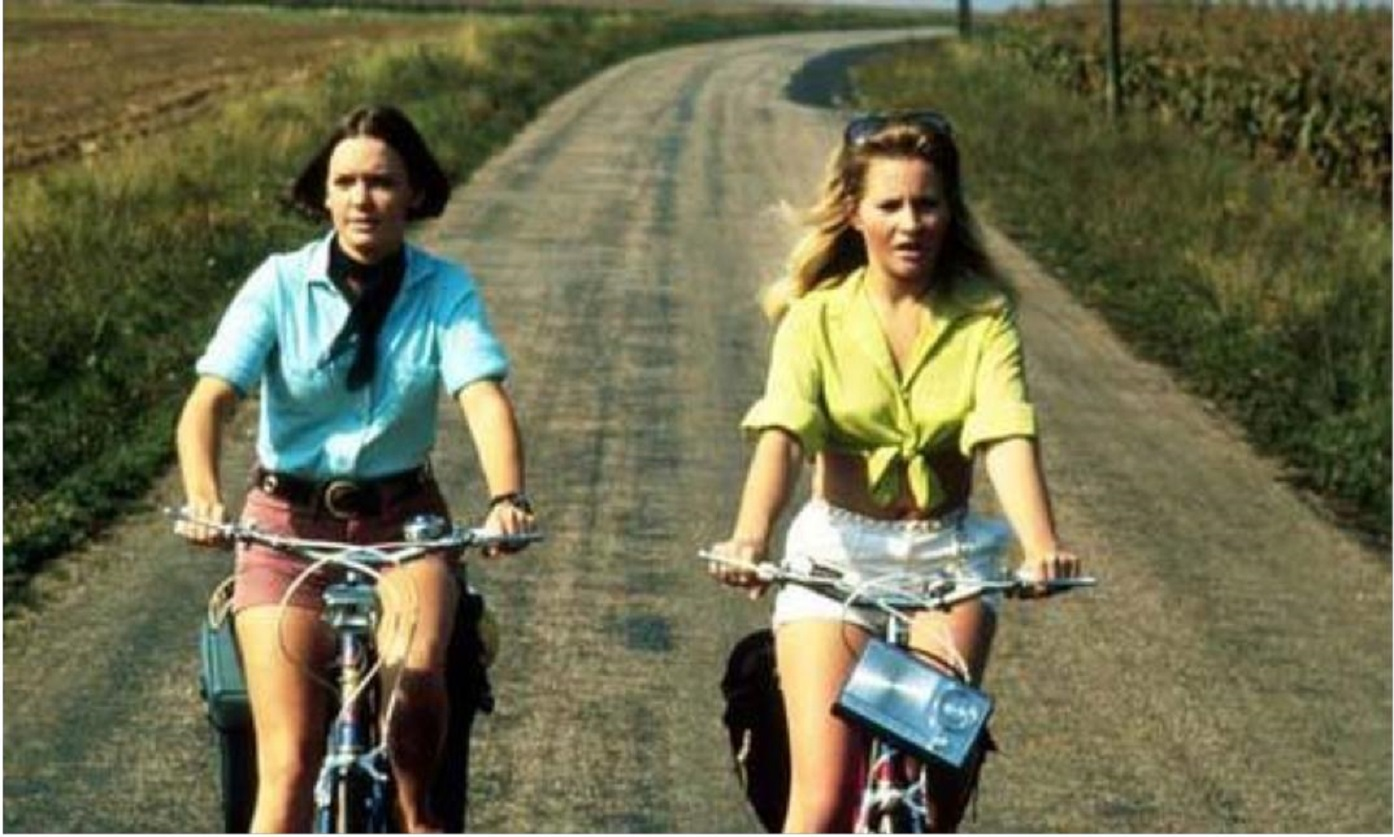 Two friends Pamela Franklin and Michele Dotrice on a cycling tour of the French countryside in And Soon the Darkness (1970)