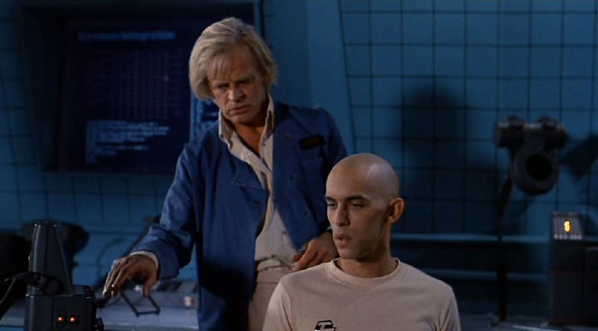 (l to r) Dr Daniel (Klaus Kinski) with his android creation Max 404 (Don Opper) in Android (1982)