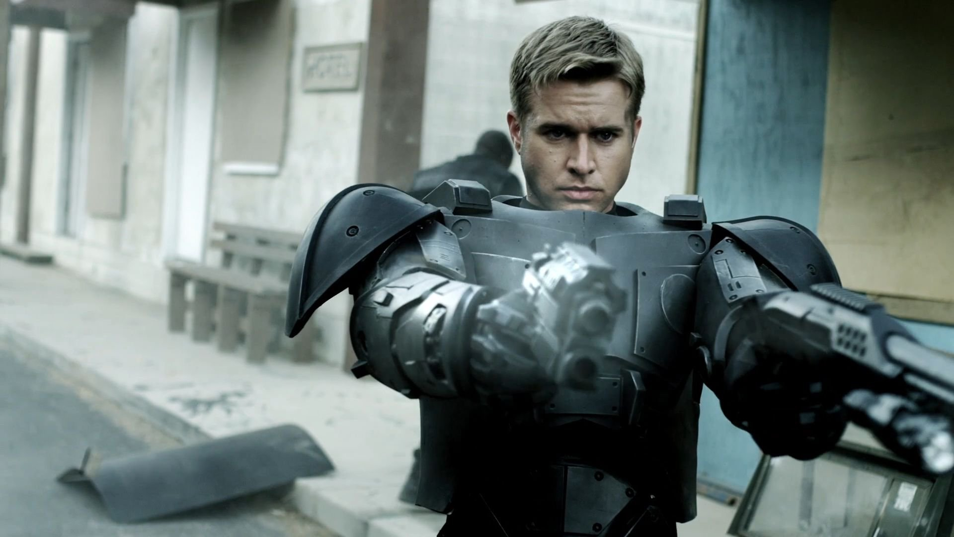 Android Cop (Randy Wayne) in action in Android Cop (2014)