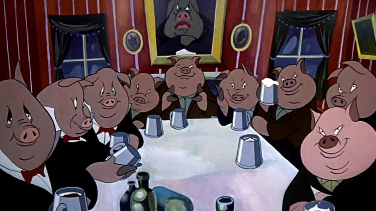 Napoleon and the pigs in the farmhouse in Animal Farm (1954)