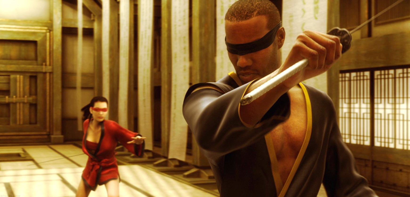 Jue (voiced by Pamela Adlon) and Thaddeus (voiced by Kevin Michael Richardson) in training in Final Flight of the Osiris episode of The Animatrix (2003)