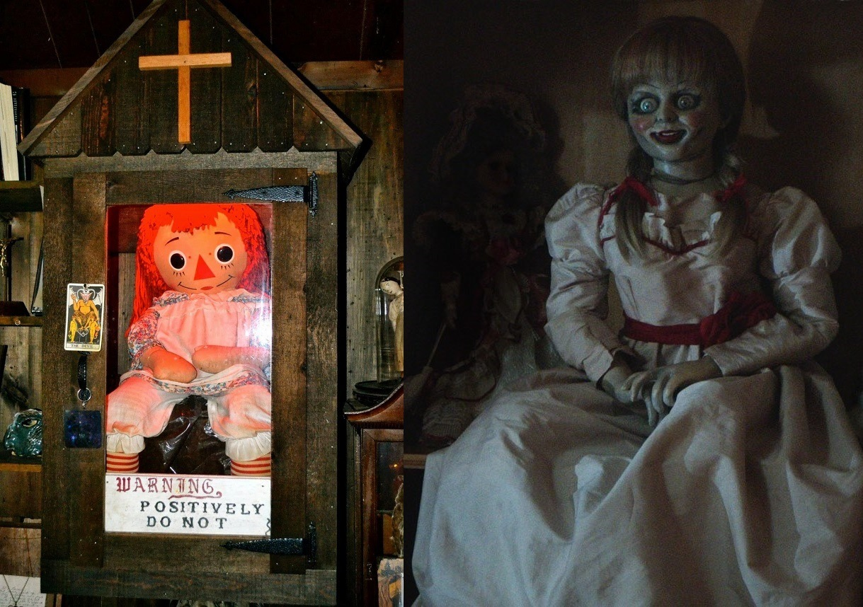 The real life Annabelle in the Warrens museum vs the doll in the film in Annabelle (2004)