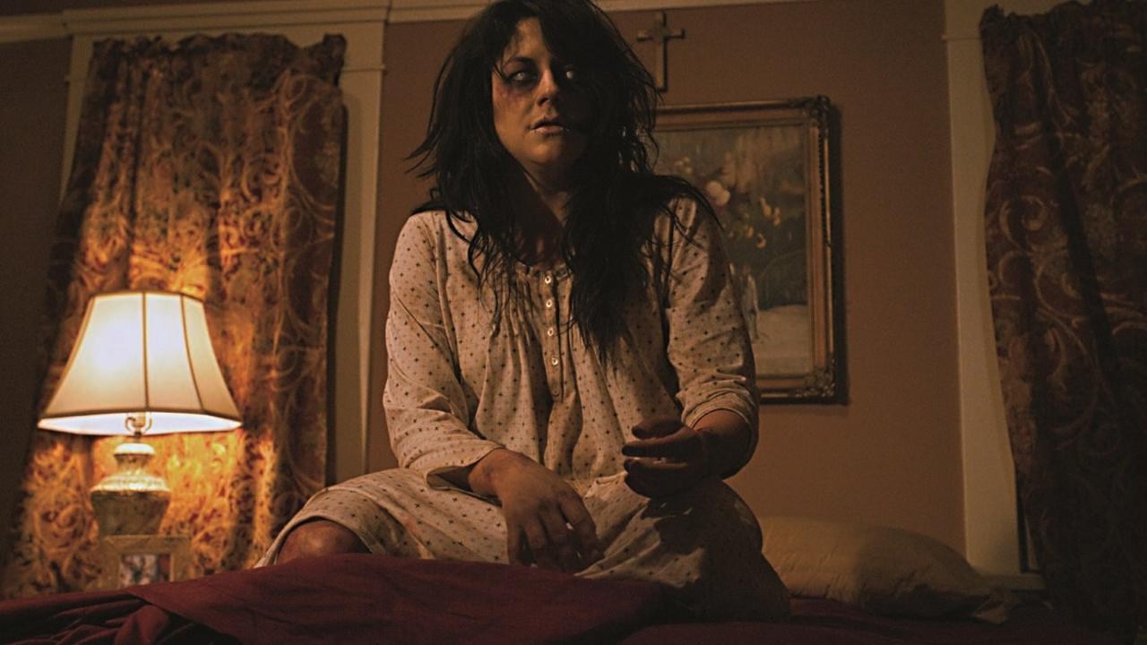 A possessed Anneliese Michel (Nikki Muller) in Anneliese: The Exorcist Tapes (2011)