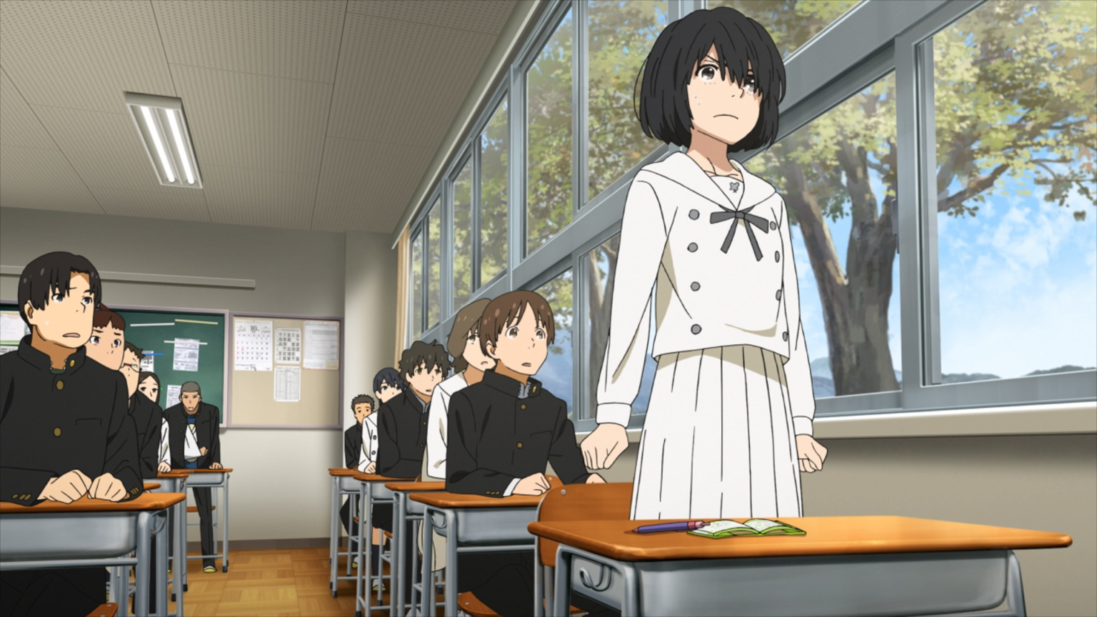 The voiceless Jun stands up in class in Anthem of the Heart (2015)