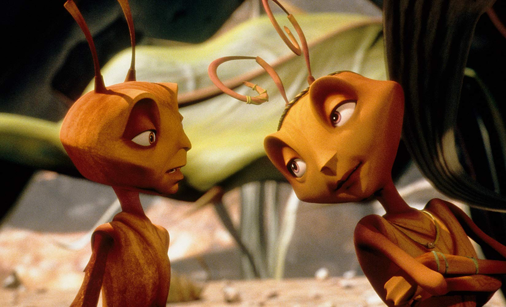 (l to r) The dissatisfied drone ant Z (voiced by Woody Allen) and the Princess Bala (voiced by Sharon Stone) in Antz (1998)