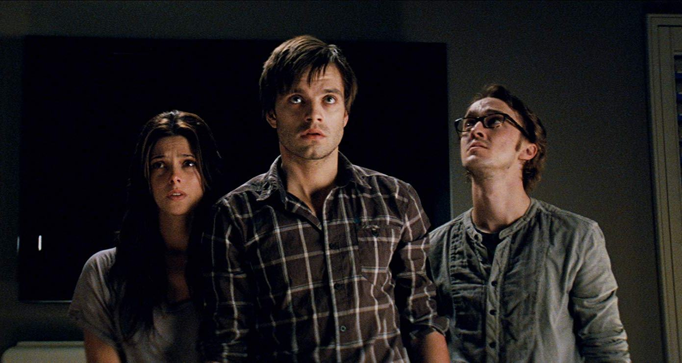 (l to r) Ashley Greene, Sebastian Stan and Tom Felton investigate haunted phenomena in The Apparition (2012)