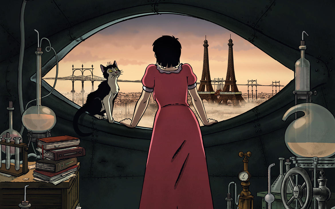 April and her cat Darwin in the alternate history Steampunk world of Paris in April and the Extraordinary World (2015)