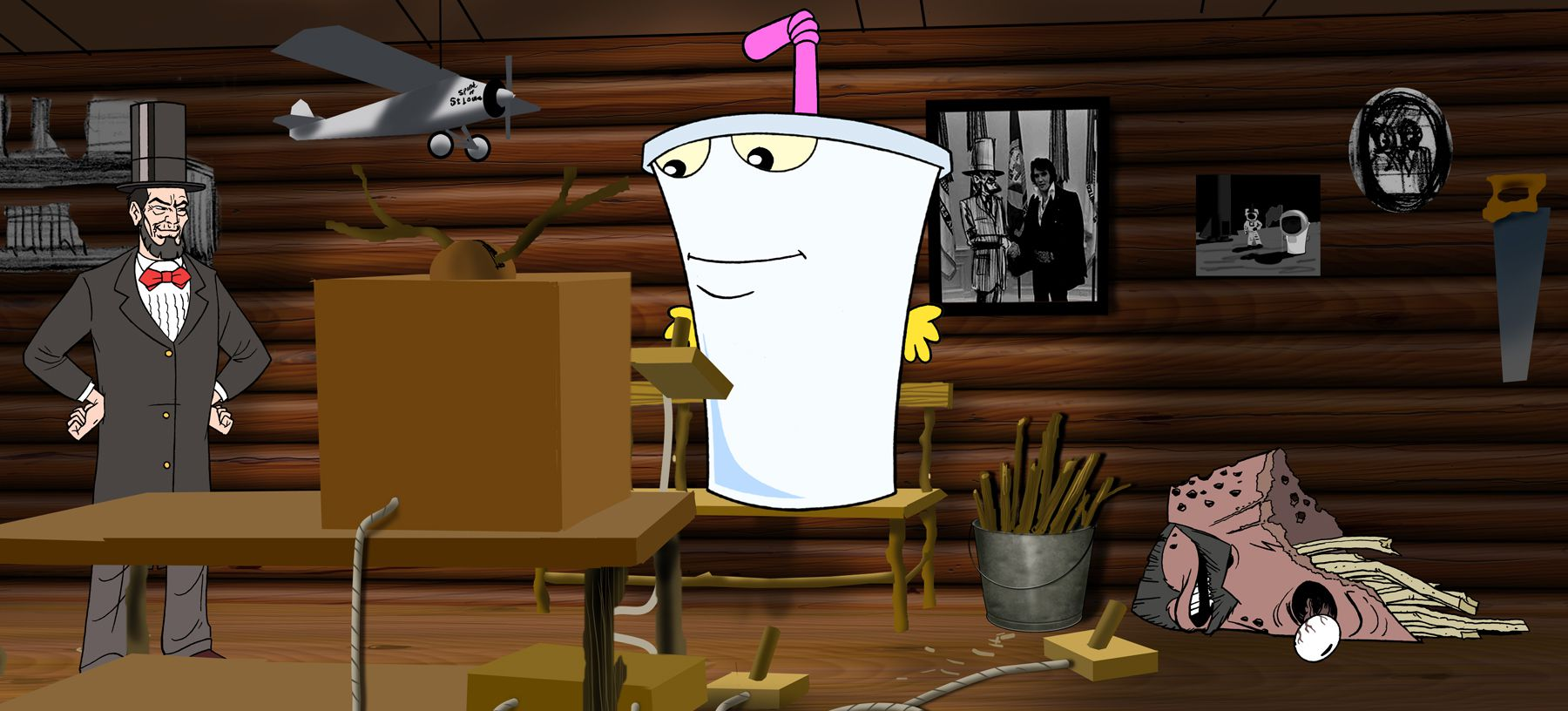 (l to r) A time-travelling Abraham Lincoln, the milkshake Master Shake and the packet of French Fries Frylock in Aqua Teen Hunger Force Colon Movie Film for Theaters (2007)