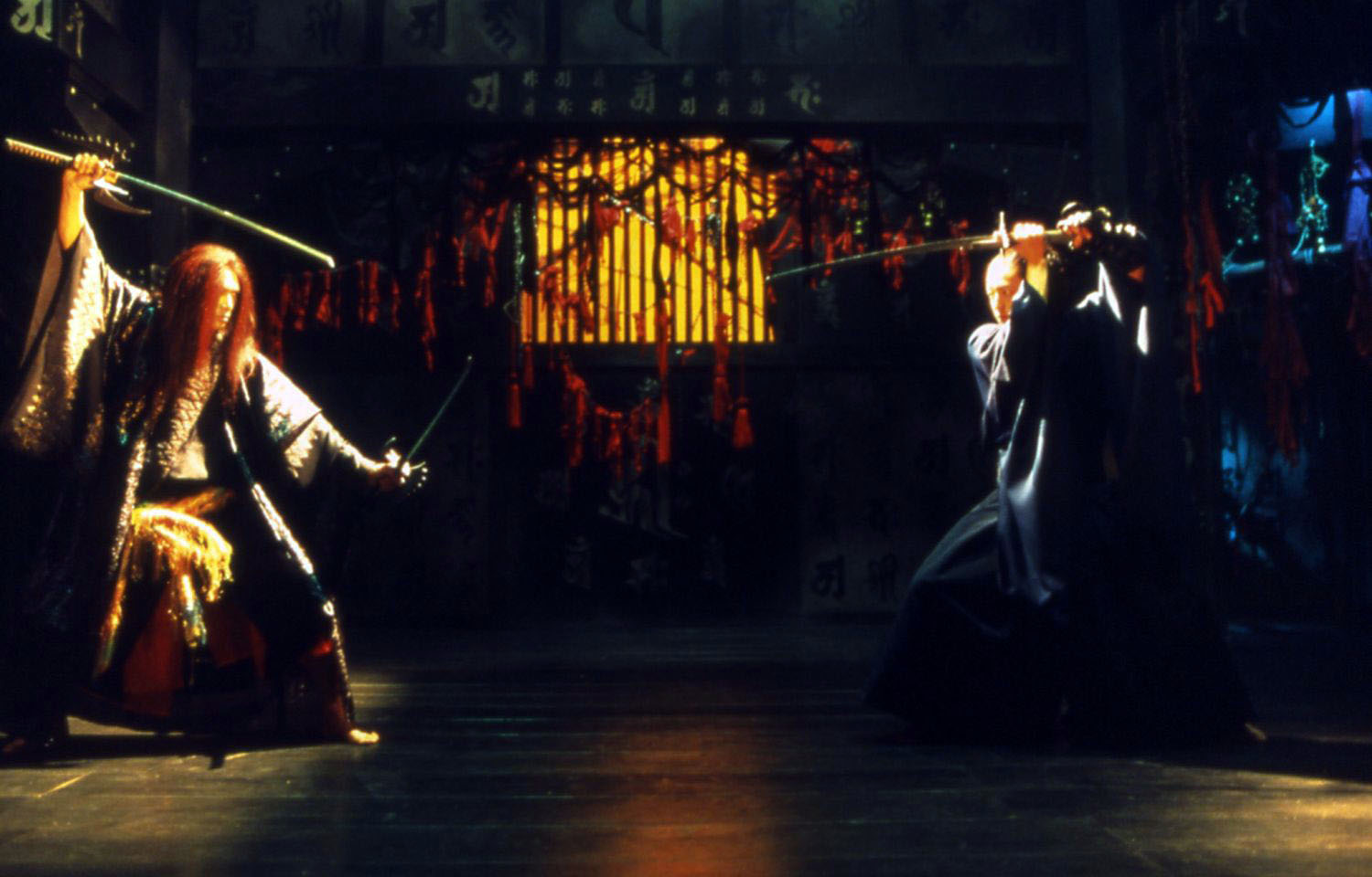 The samurai (Takao Osawa) and his mystery host the Aragami (Masaya Kato) clash swords in Aragami (2003)
