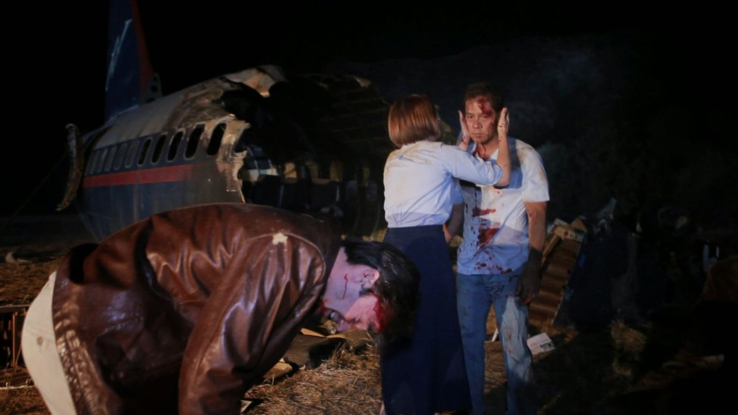 The aftermath of a plane crash - (l to r) Ken Garcia, Samantha Sloyan and James Lyons in Area 407 (2012)