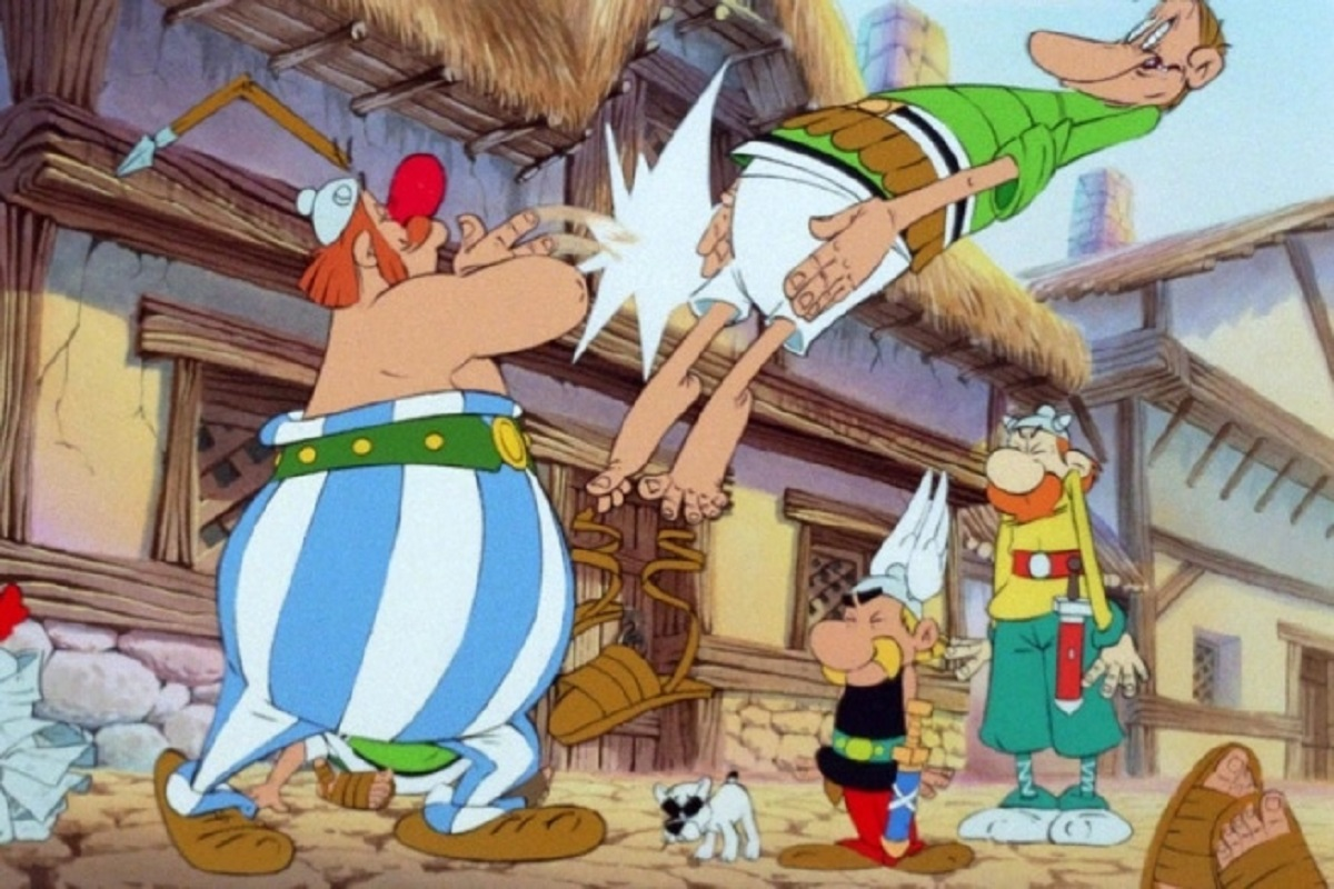Asterix and Obelix make their way through Britain in Asterix in Britain (1986)