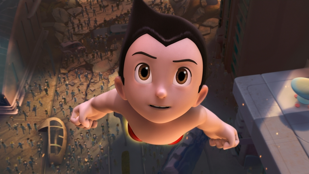 Astro Boy (voiced by Freddie Highmore) flies into action in Astro Boy (2009)