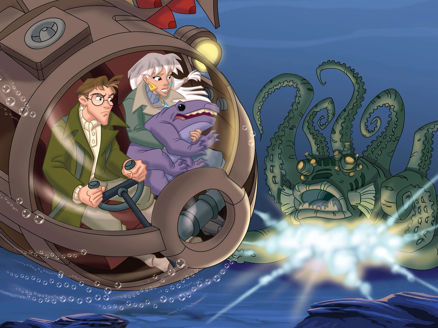 Milo (voiced by James Taylor) and Kida (voiced by Cree Summer) encounter The Kraken in Atlantis: Milo's Return (2003)
