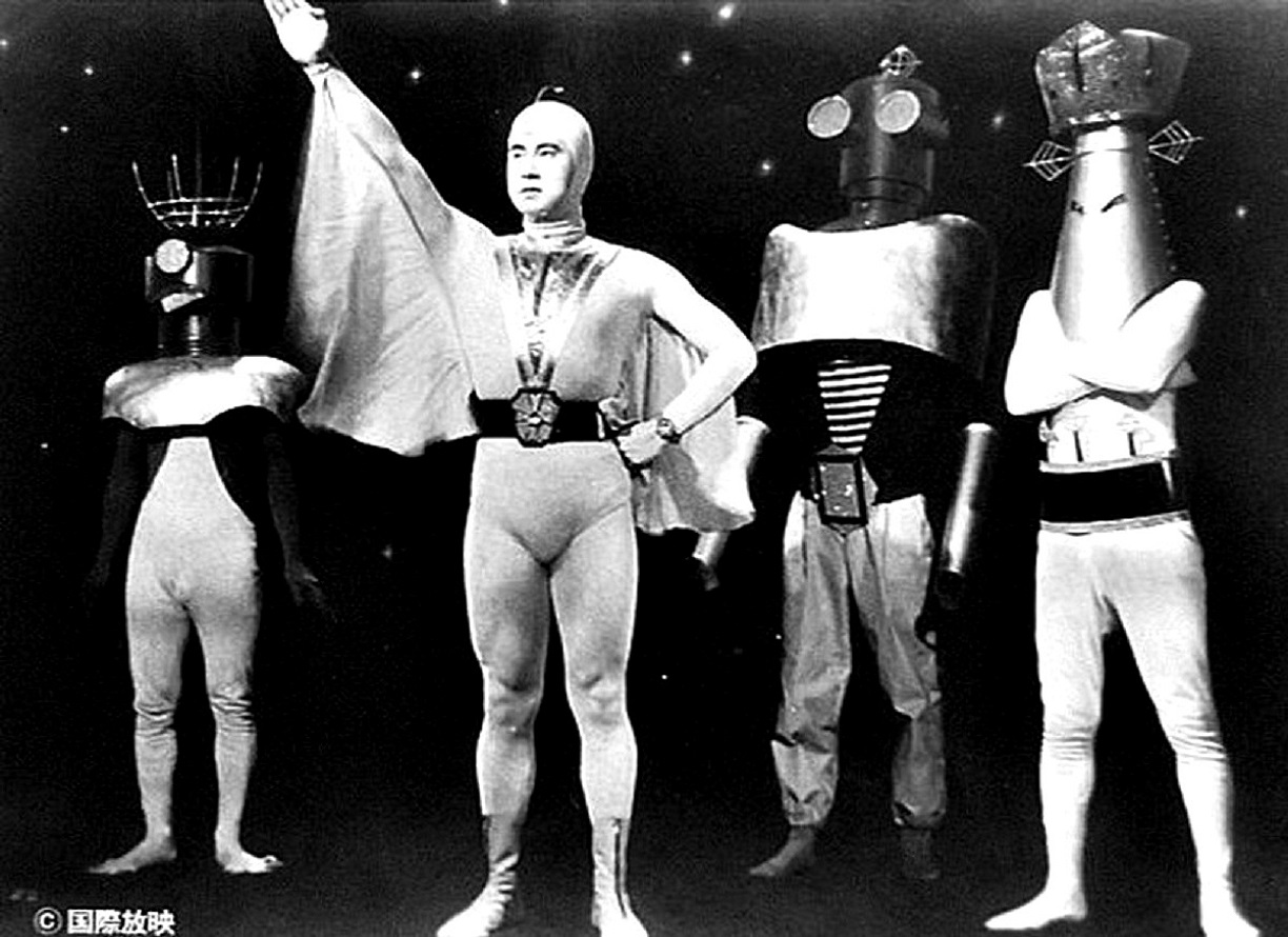 Starman (Ken Utsui) and the aliens of the Emerald Planet in Atomic Rulers of the World (1956)
