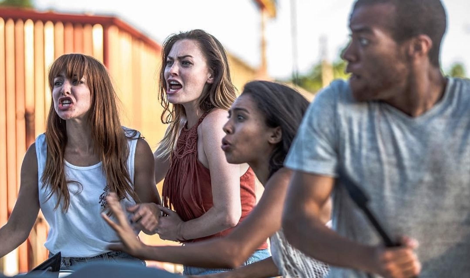 Kaitlin Mesh, Megan Few, Wyntergrace Williams and Moses J. Moseley in Attack of the Southern Fried Zombies (2017)
