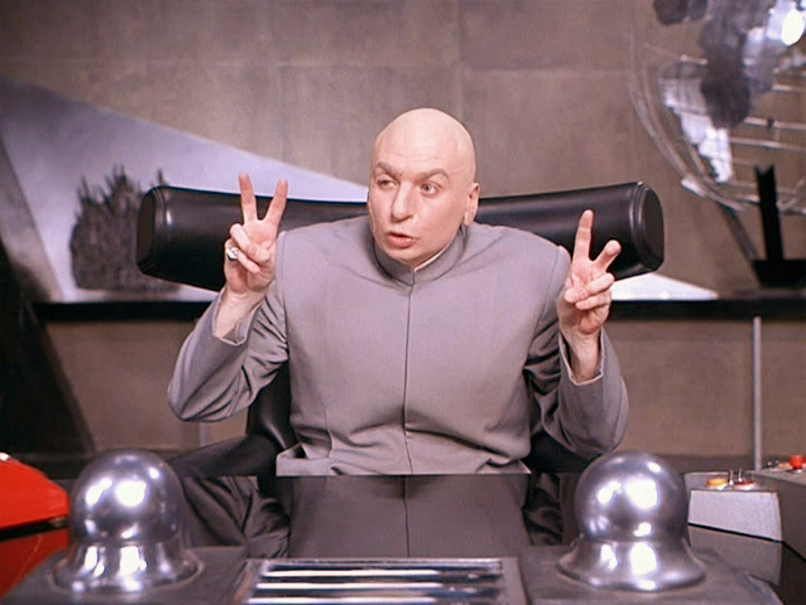 Mike Myers as Dr Evil, a parody of Blofeld from the James Bond fims in Austin Powers, International Man of Mystery (1997)