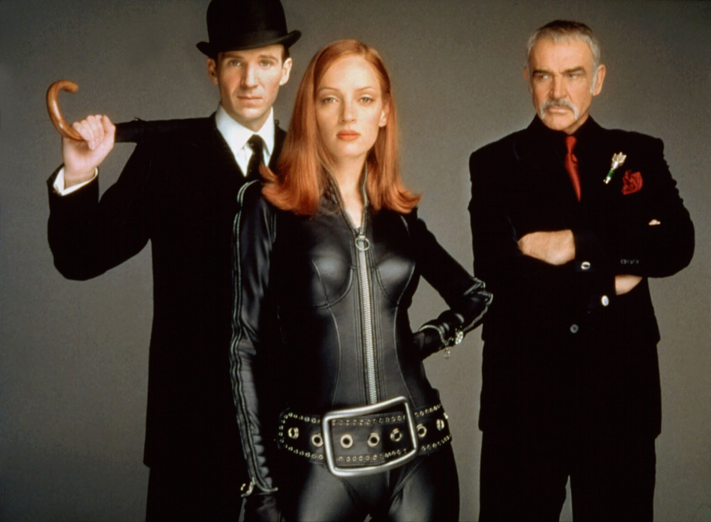 Steed (Ralph Fiennes), Mrs Peel (Uma Thurman) and villain Sir August de Wynter (Sean Connery) in The Avengers (1998)