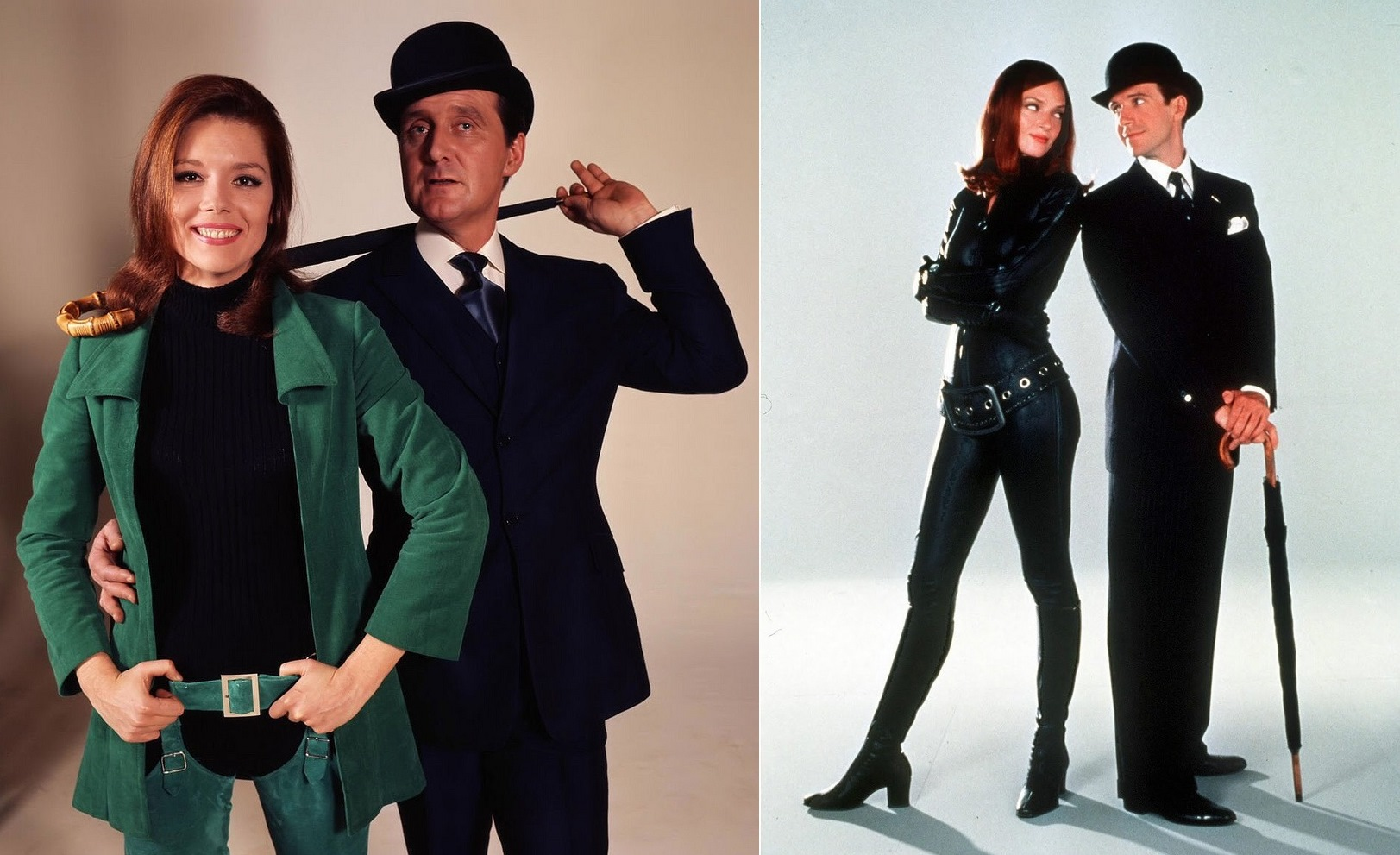 The original Steed and Mrs Peel (Patrick MacNee and Diana Rigg) vs the fim version's Steed and Mrs Peel (Ralph Fiennes and Uma Thurman)