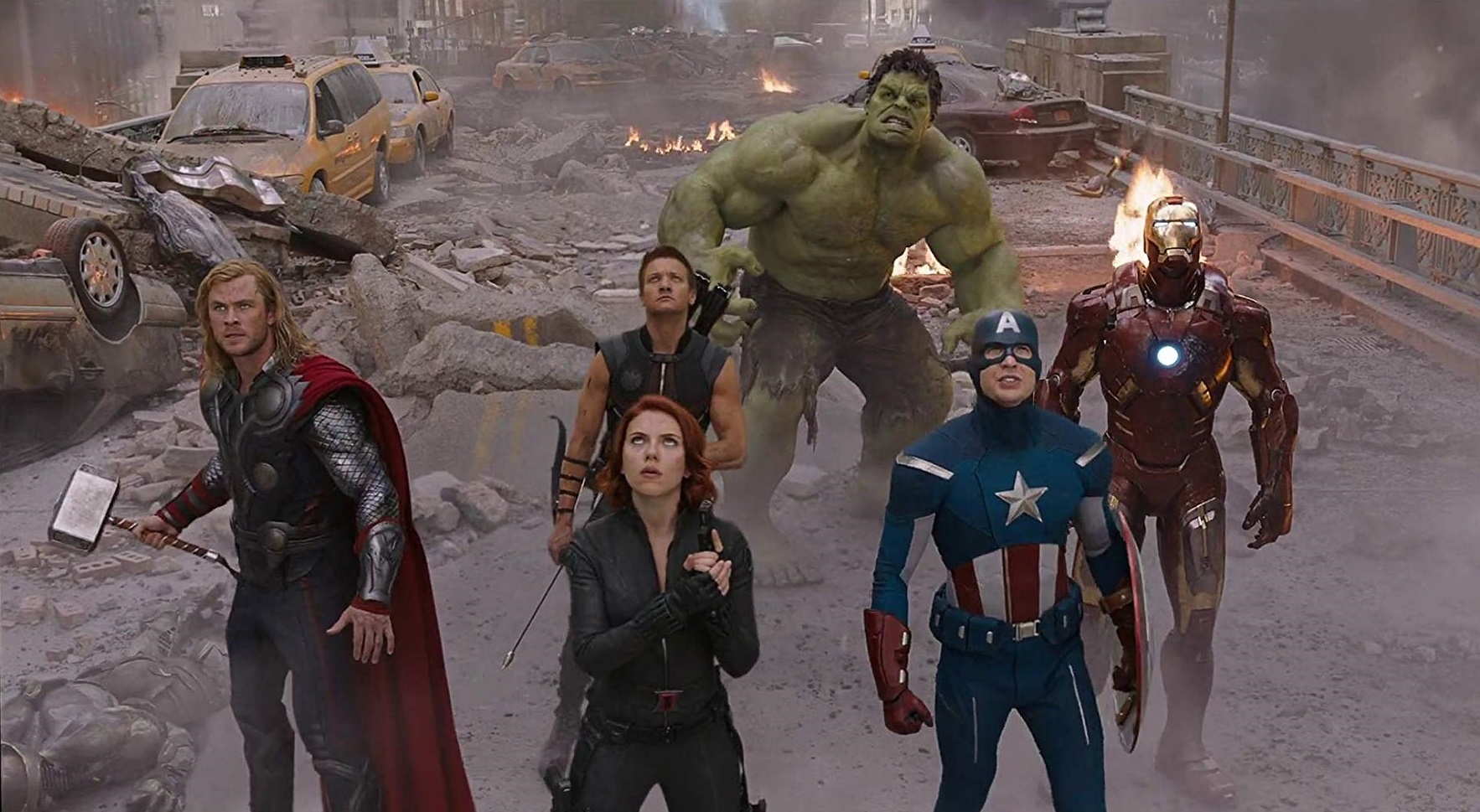 Chris Hemsworth as Thor, Scarlett Johansson as Black Widow, Jeremy Renner as Hawkeye, Mark Ruffalo as The Hulk, Chris Evans as Captain America and Robert Downey Jr as Iron Man in The Avengers (2012)