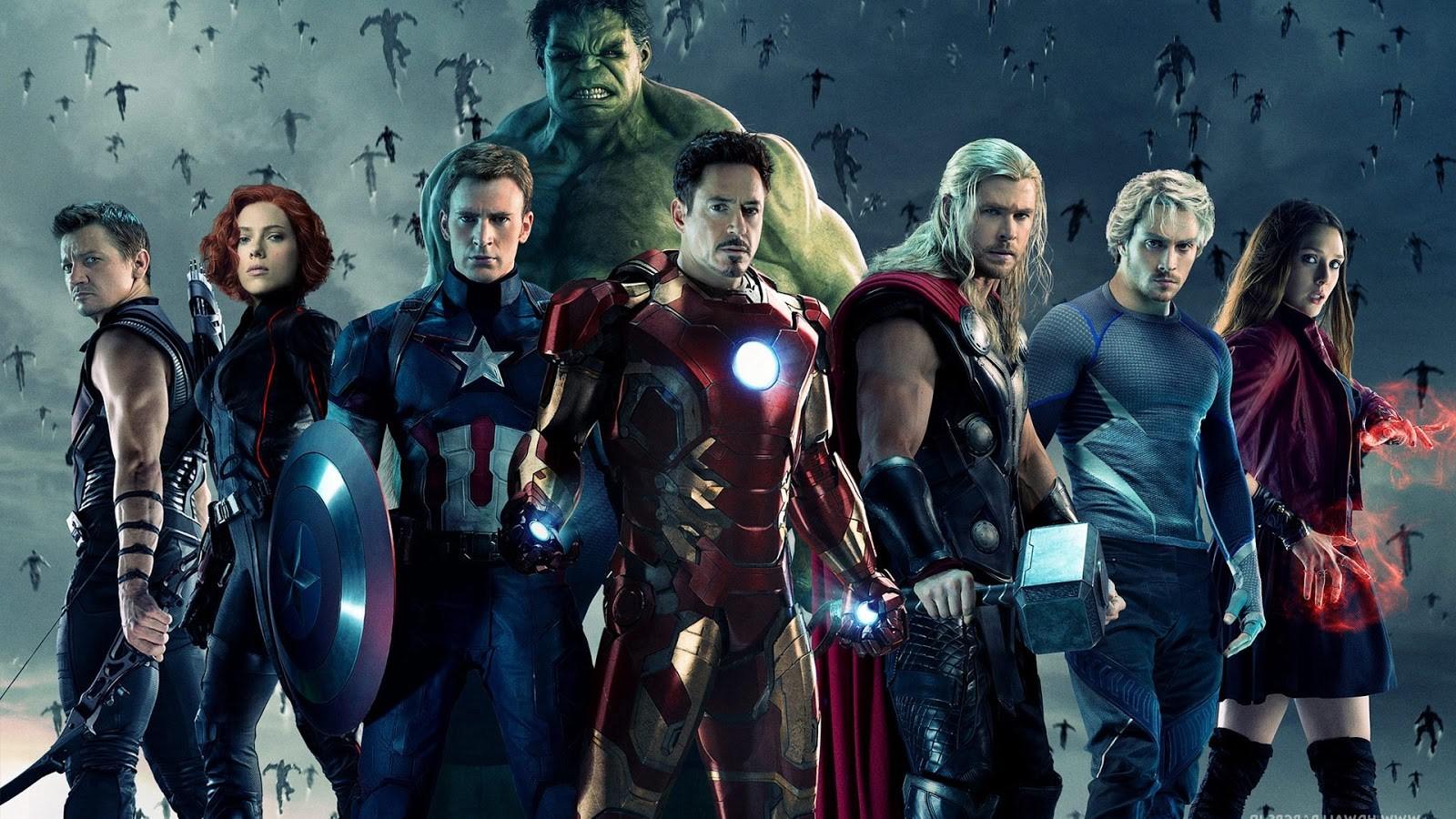 The Avengers line-up - Hawkeye, Black Widow, Captain America, Hulk, Iron Man, Thor, Quicksilver, Scarlet Witch