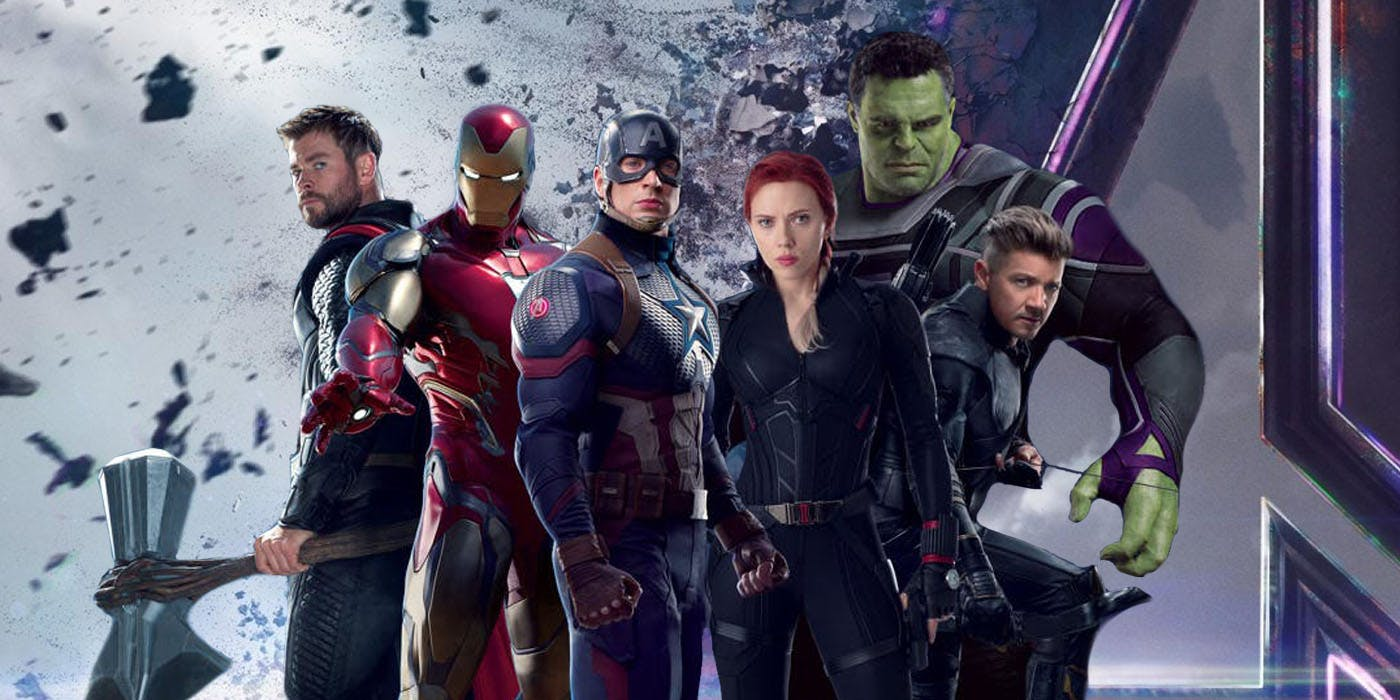 Avengers line-up promotional artwork - (l to r) Thor, Iron Man, Captain America, Black Widow, Hulk and Hawkeye in Avengers: Endgame (2019)