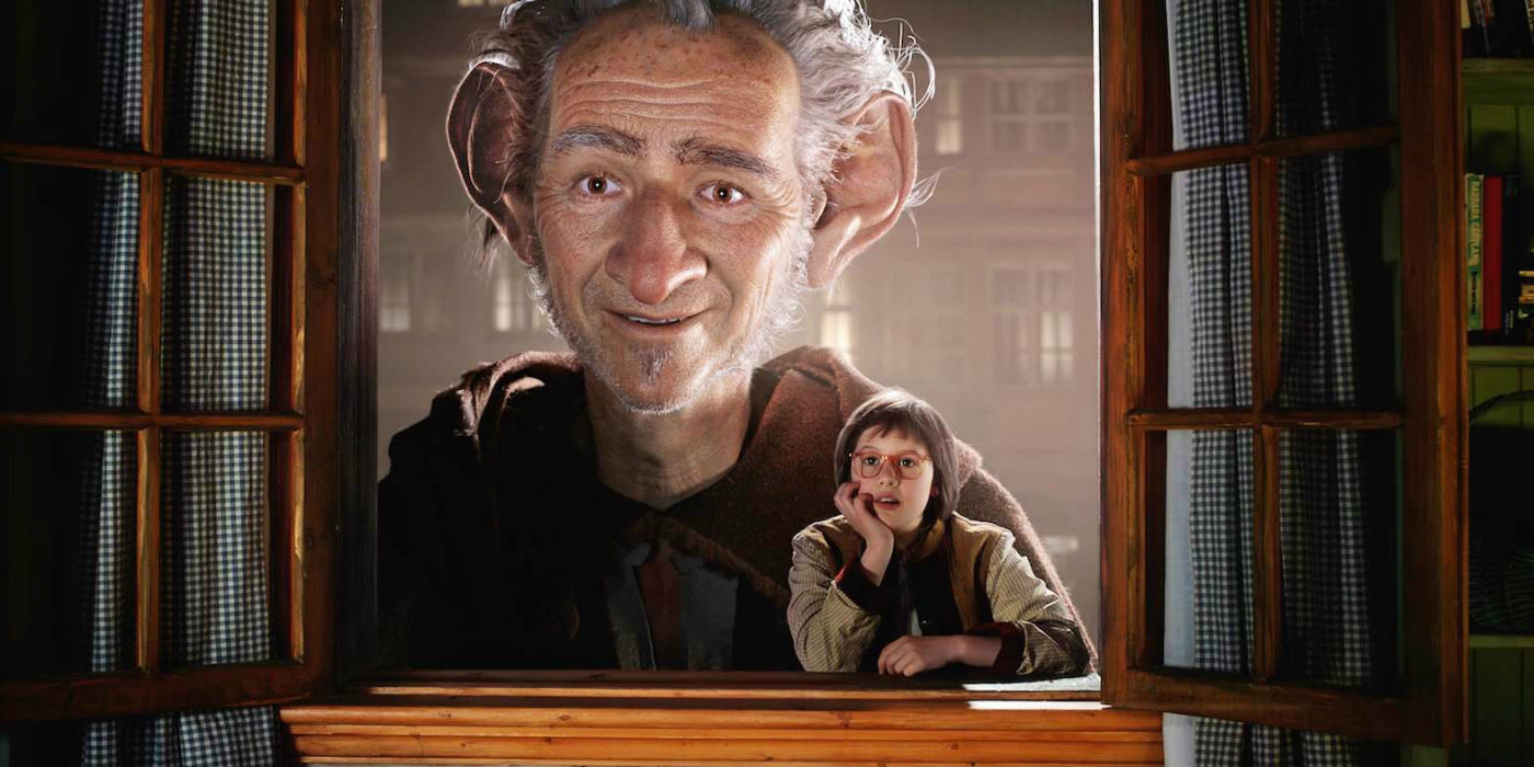 Mark Rylance as The BFG and Ruby Barnhill as Sophie in The BFG (2016)