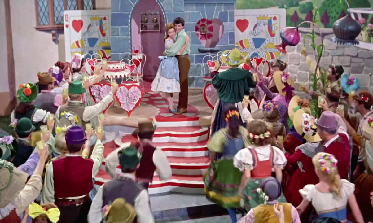 Mary Quite Contrary (Annette Funicello) and Tom Piper (Tommy Sands) among the denizens of Toyland in Babes in Toyland (1961)