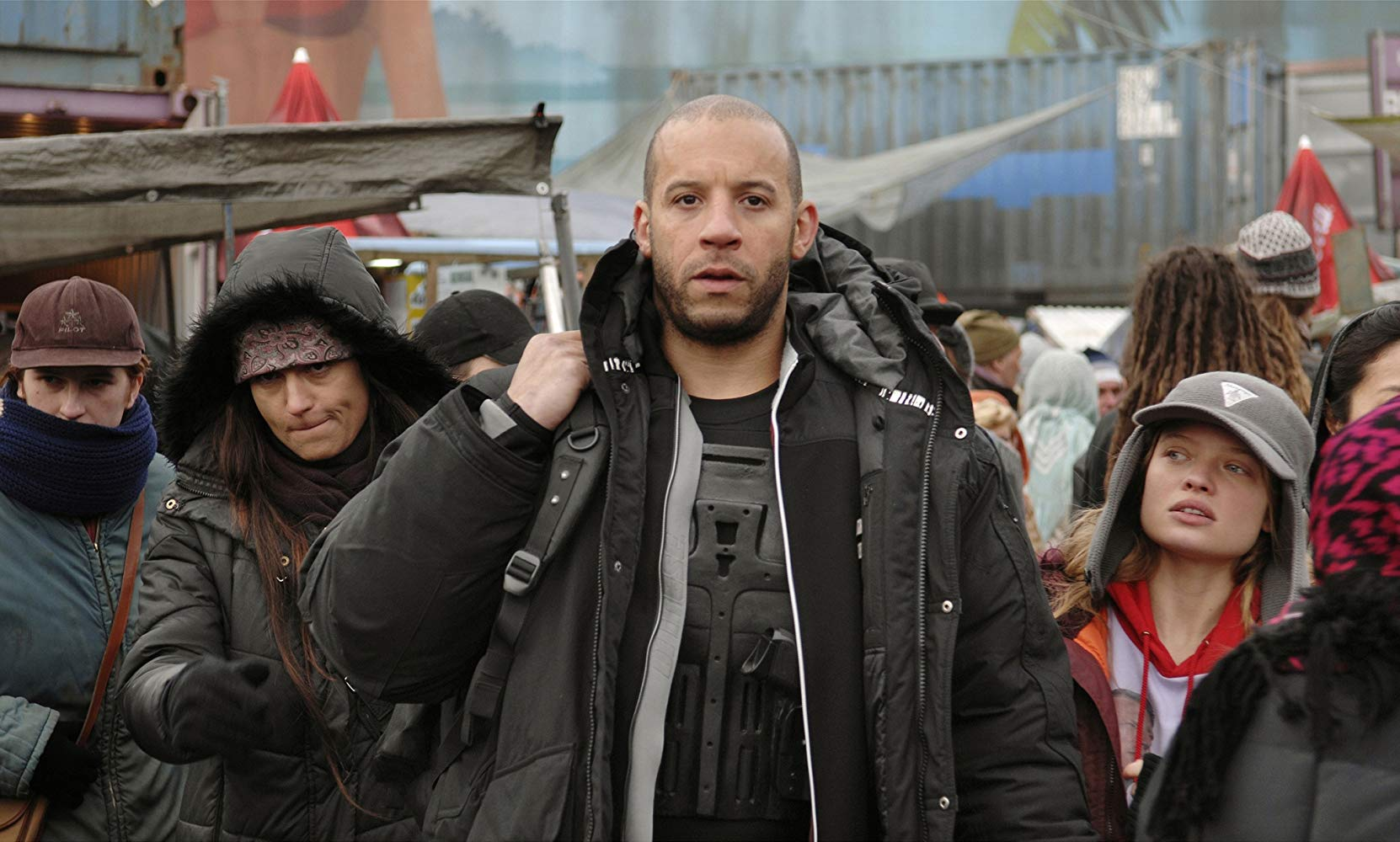Vin Diesel passes through the streets of a Cyberpunk future in Babylon A.D. (2008)