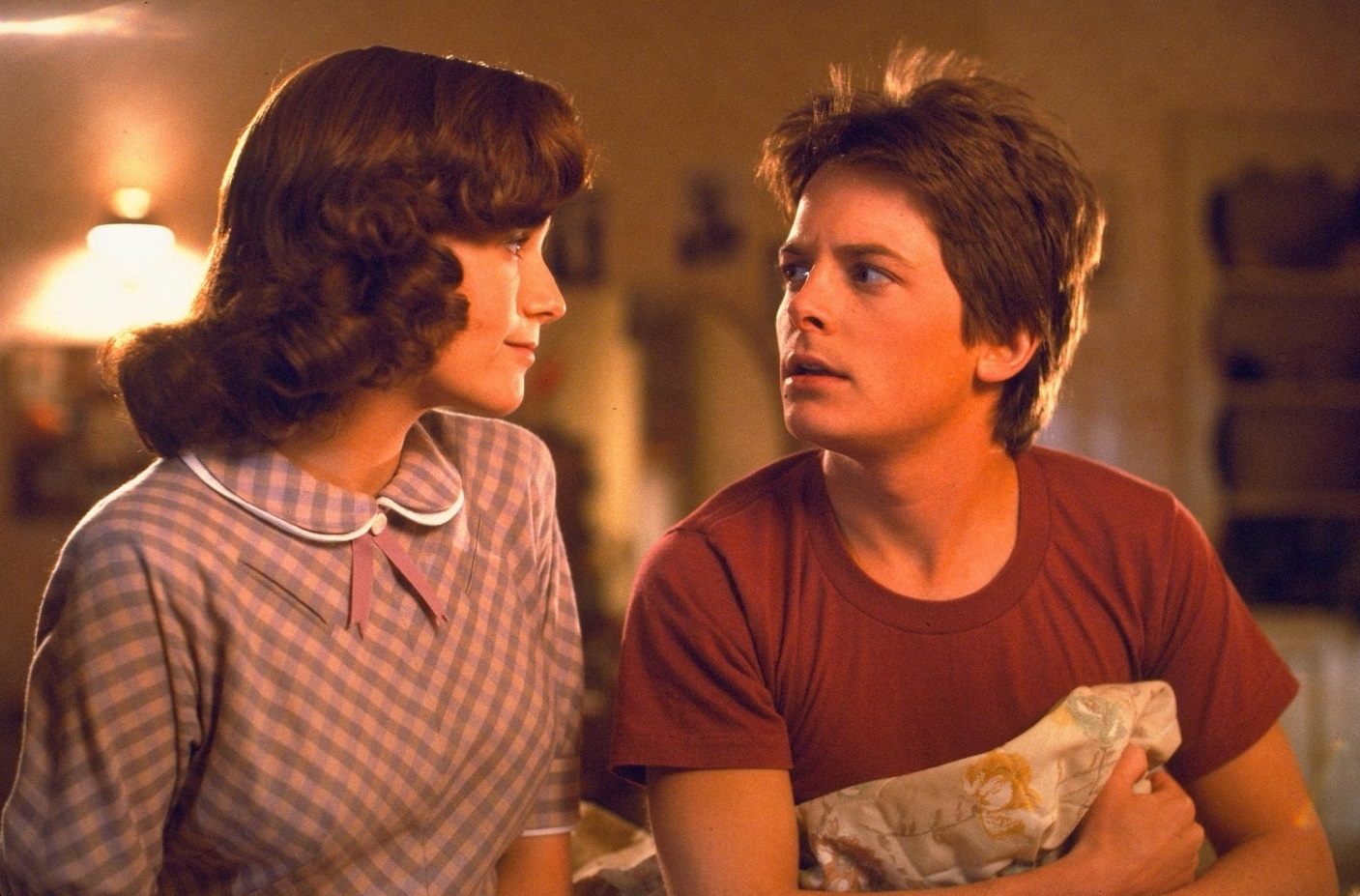 Marty (Michael J. Fox) meets his own mother (Lea Thompson) in Back to the Future (1985)