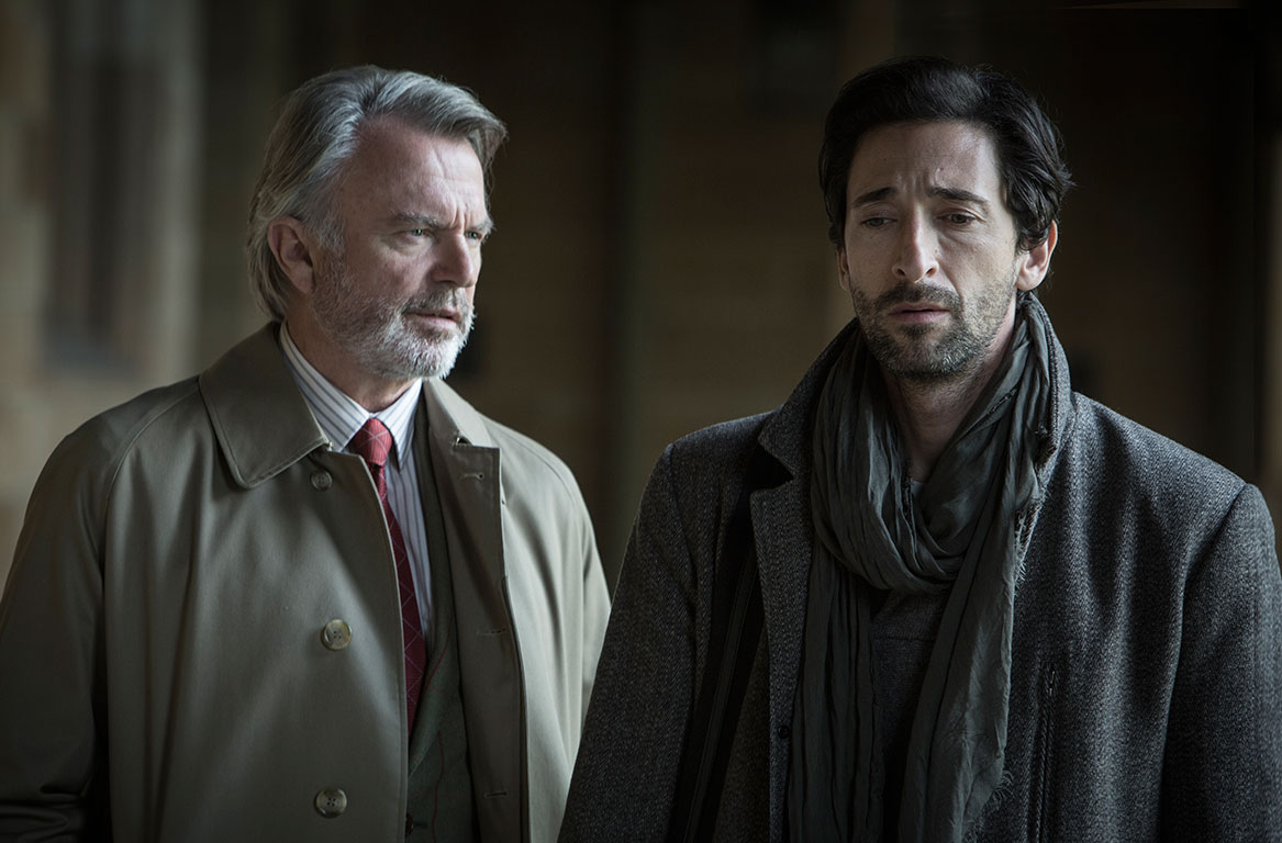 Haunted psychologist Adrien Brody (r) and his mentor Sam Neill (l) in Backtrack (2015)