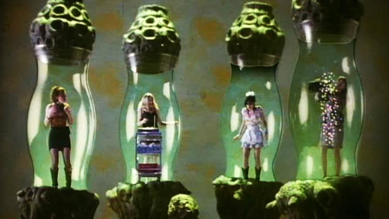 Miniaturised girls in bottles in Bad Channels (1992)