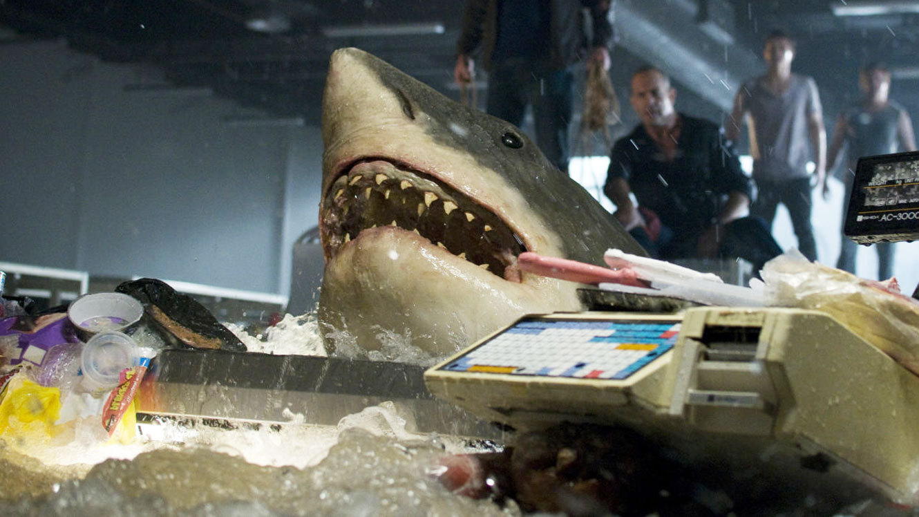 The shark attempts to pass through checkout in Bait (2012)