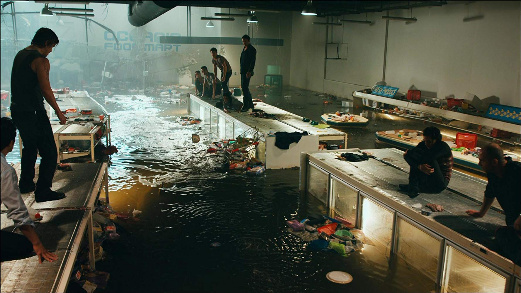 Shark prowling the aisles of a flooded supermarket in Bait (2012)