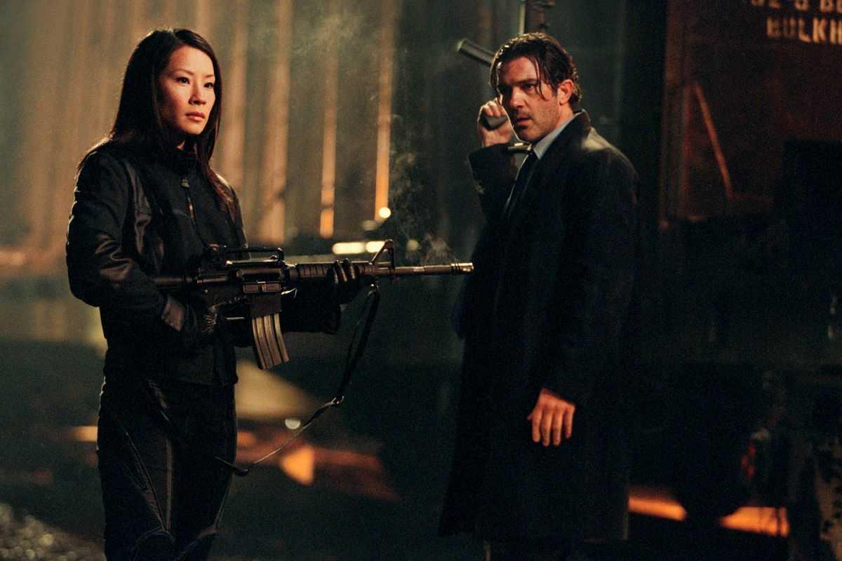 Lucy Liu and Antonio Banderas as rival assassins in Ballistic: Ecks vs. Sever (2002)