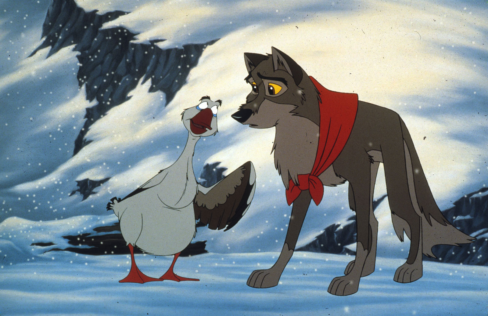 Balto the wolf dog (voiced by Kevin Bacon) with Boris the goose (voiced by Bob Hoskins) in Balto (1995)