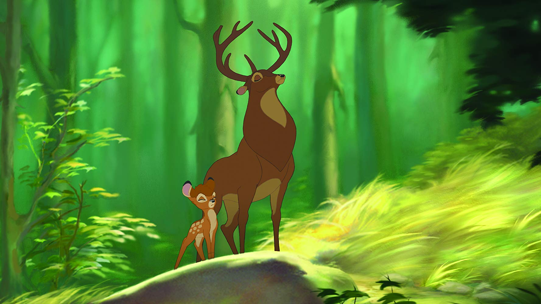 Bambi (voiced by Alexander Gould) with his father (voiced by Patrick Stewart) in Bambi II (2006)