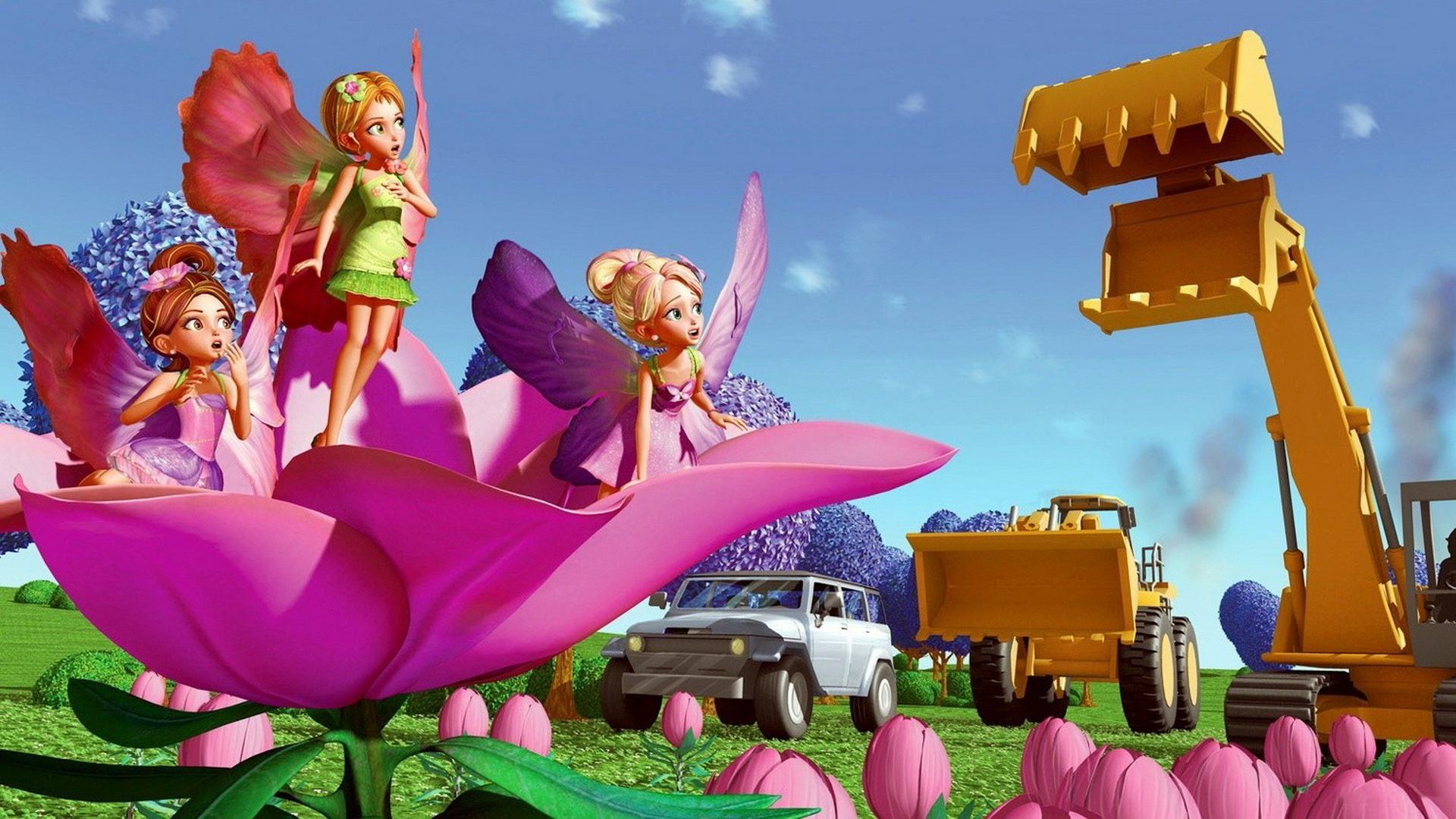 Thumbelina and his Twillerbee friends try to stop development in Barbie Presents Thumbelina (2009)
