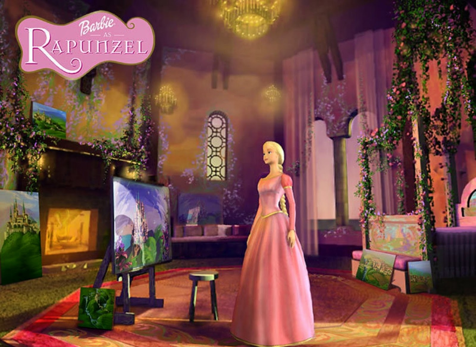 An imprisoned Rapunzel creates paintings with her magic paintbrush in Barbie as Rapunzel (2002)