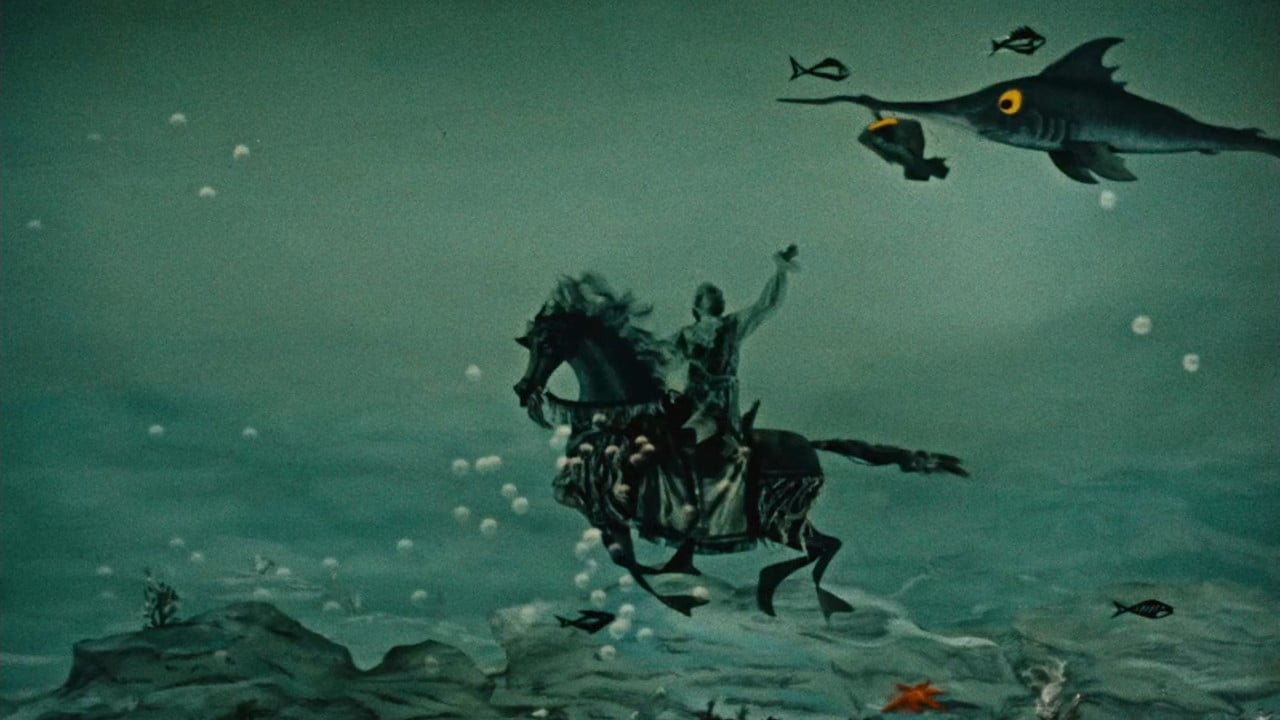 The Baron takes an underwater horse ride in Baron Munchausen (1962)