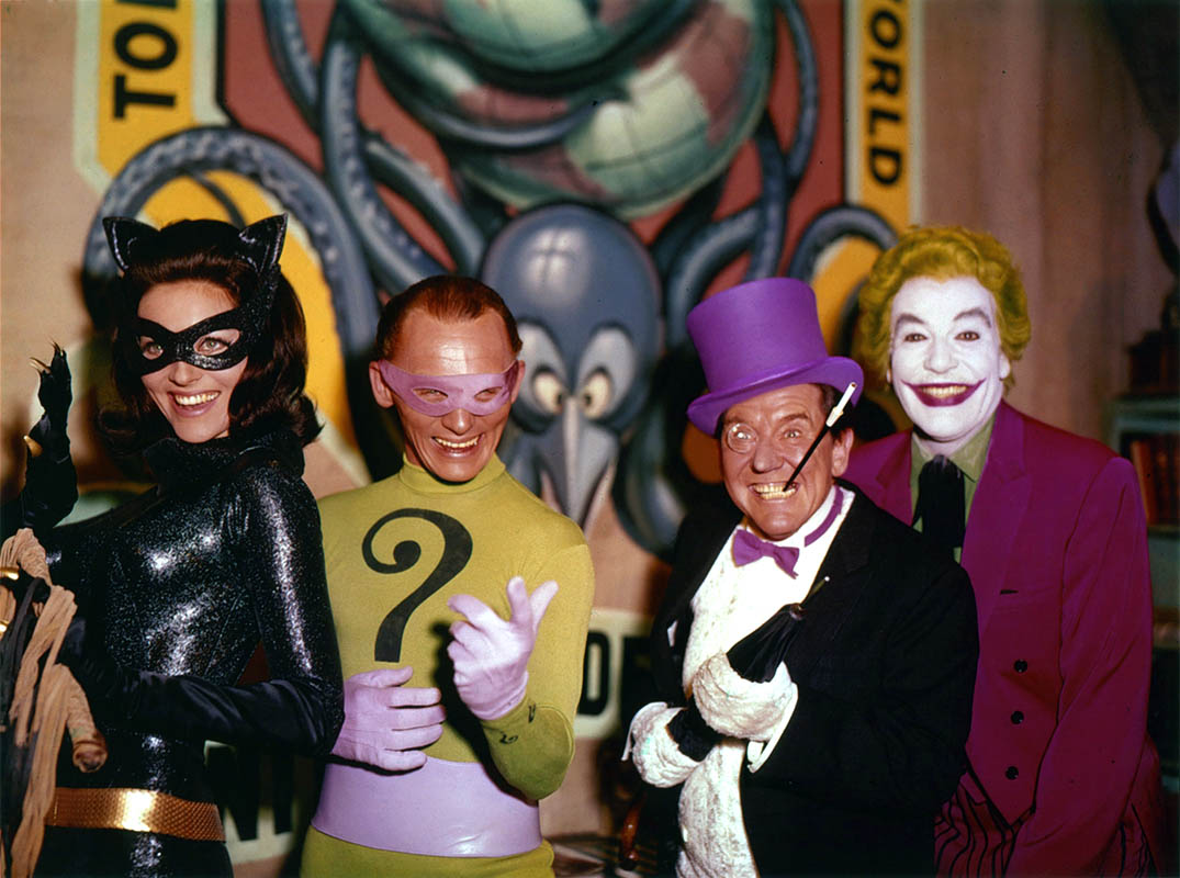 United Underworld - (l to r) Cat Woman (Lee Merriwether), The Riddler (Frank Gorshin), The Penguin (Burgess Meredith) and The Joker (Cesar Romero) in Batman (1966)