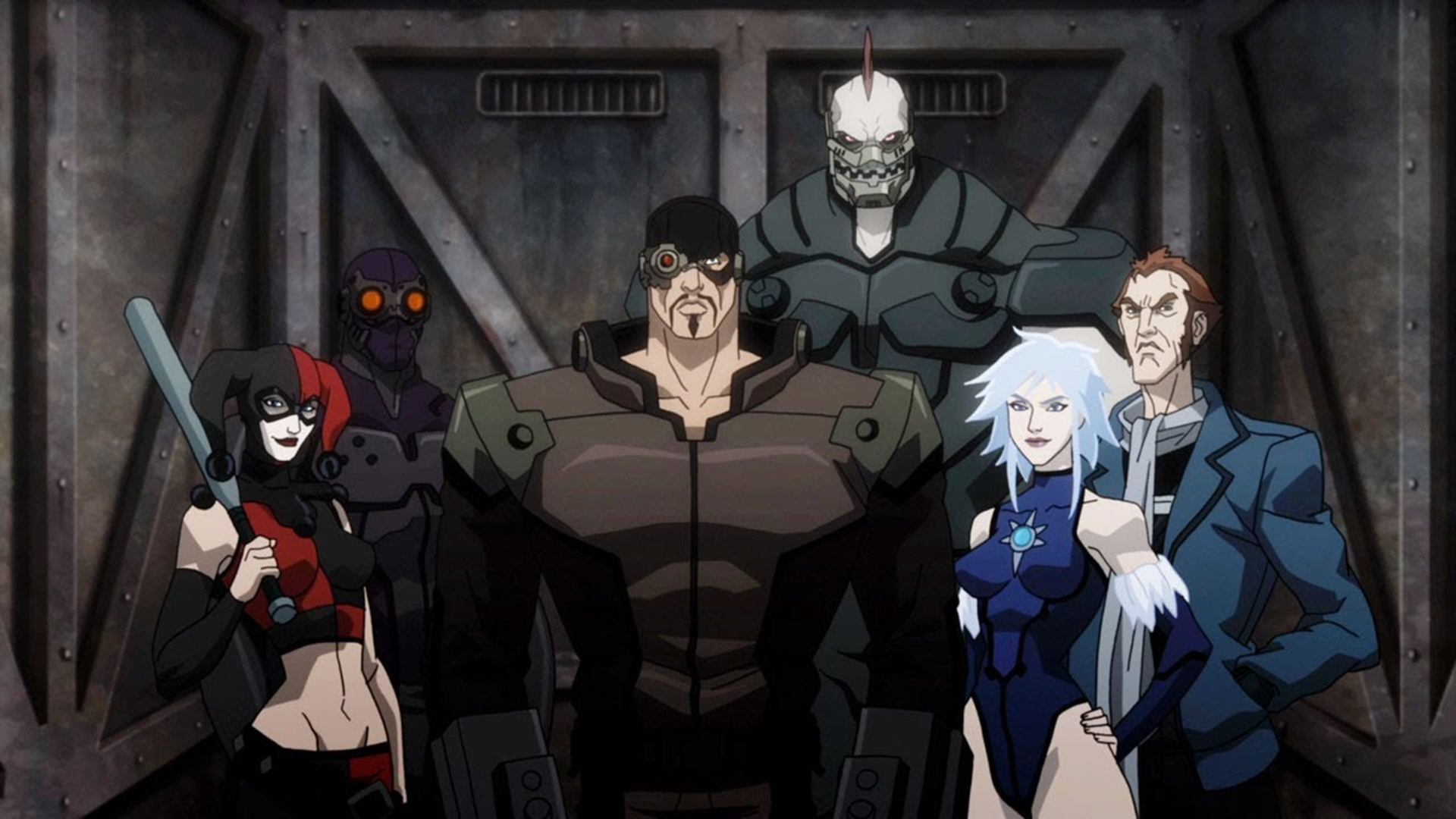 Suicide Squad line-up - Harley Quinn, Black Spider, Deadshot, Killer Shark, Killer Frost and Captain Boomerang in Batman Assault on Arkham (2014)