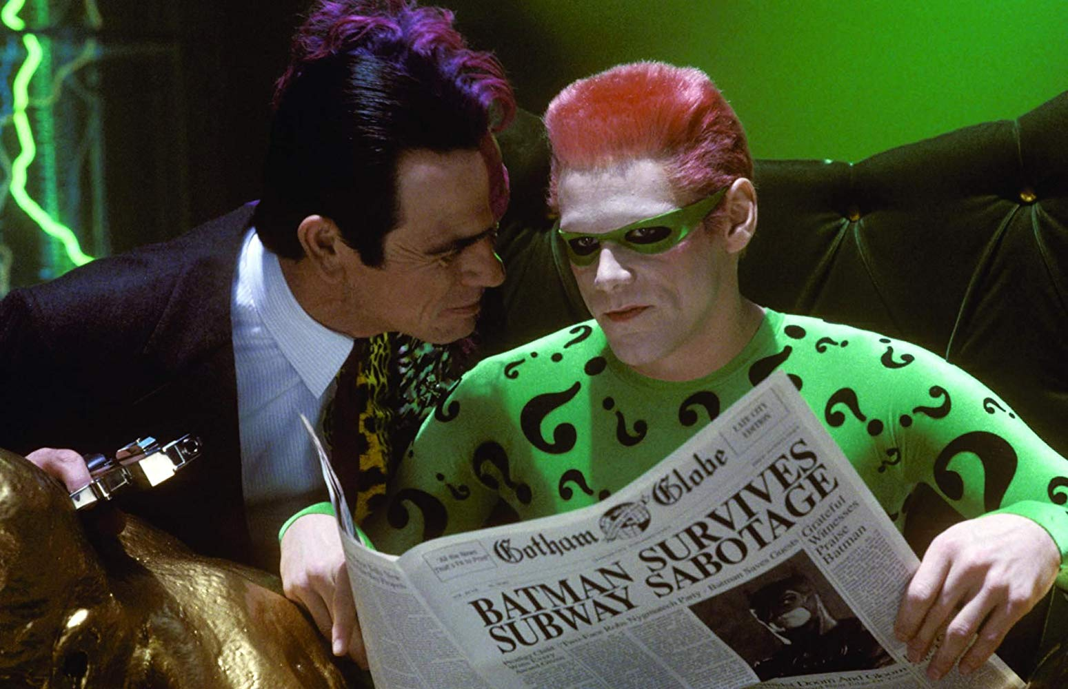 Two-Face (Tommy Lee Jones) and The Riddler (Jim Carrey) in Batman Forever (1995)
