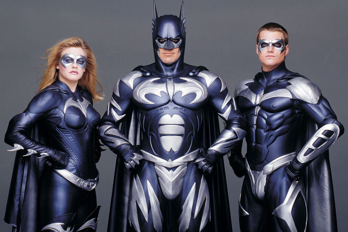 Batgirl (Alicia Silverstone), Batman (George Clooney) and Robin (Chris O'Donnell) in Batman & Robin (1997)