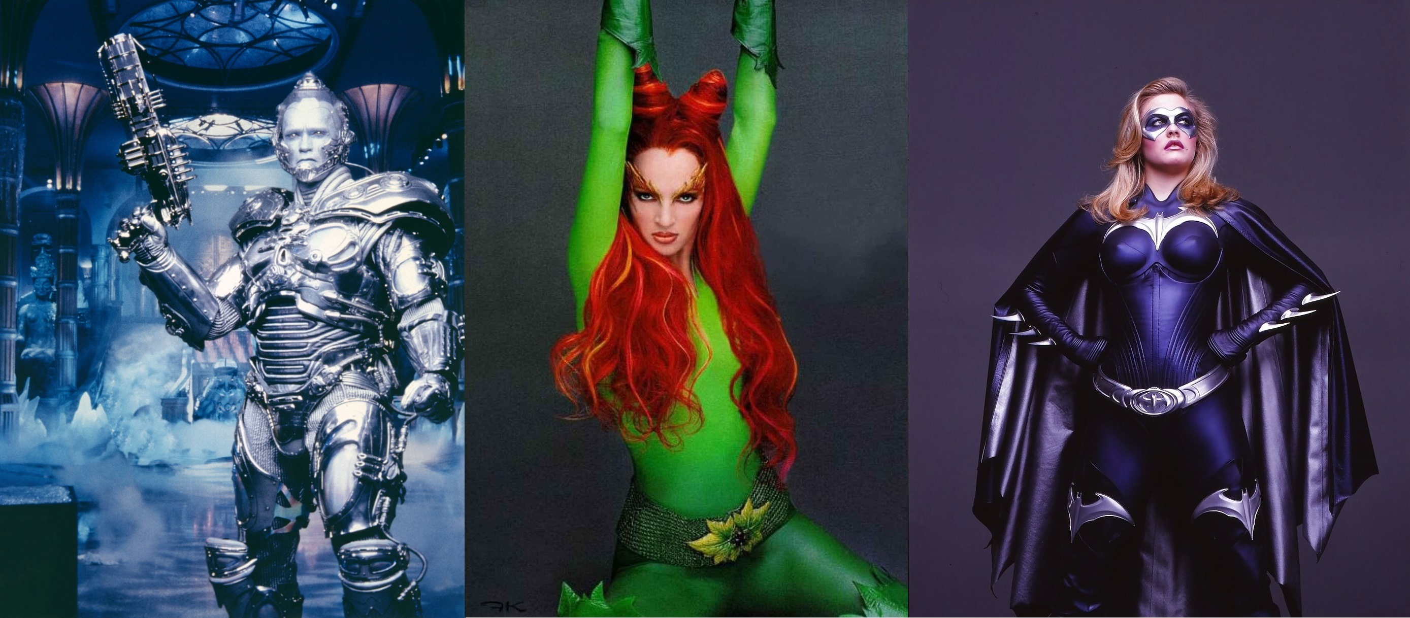 Mr Freeze (Arnold Schwarzenegger), Poison Ivy (Uma Thurman) and Batgirl (Alicia Silverstone) in Batman & Robin (1997)