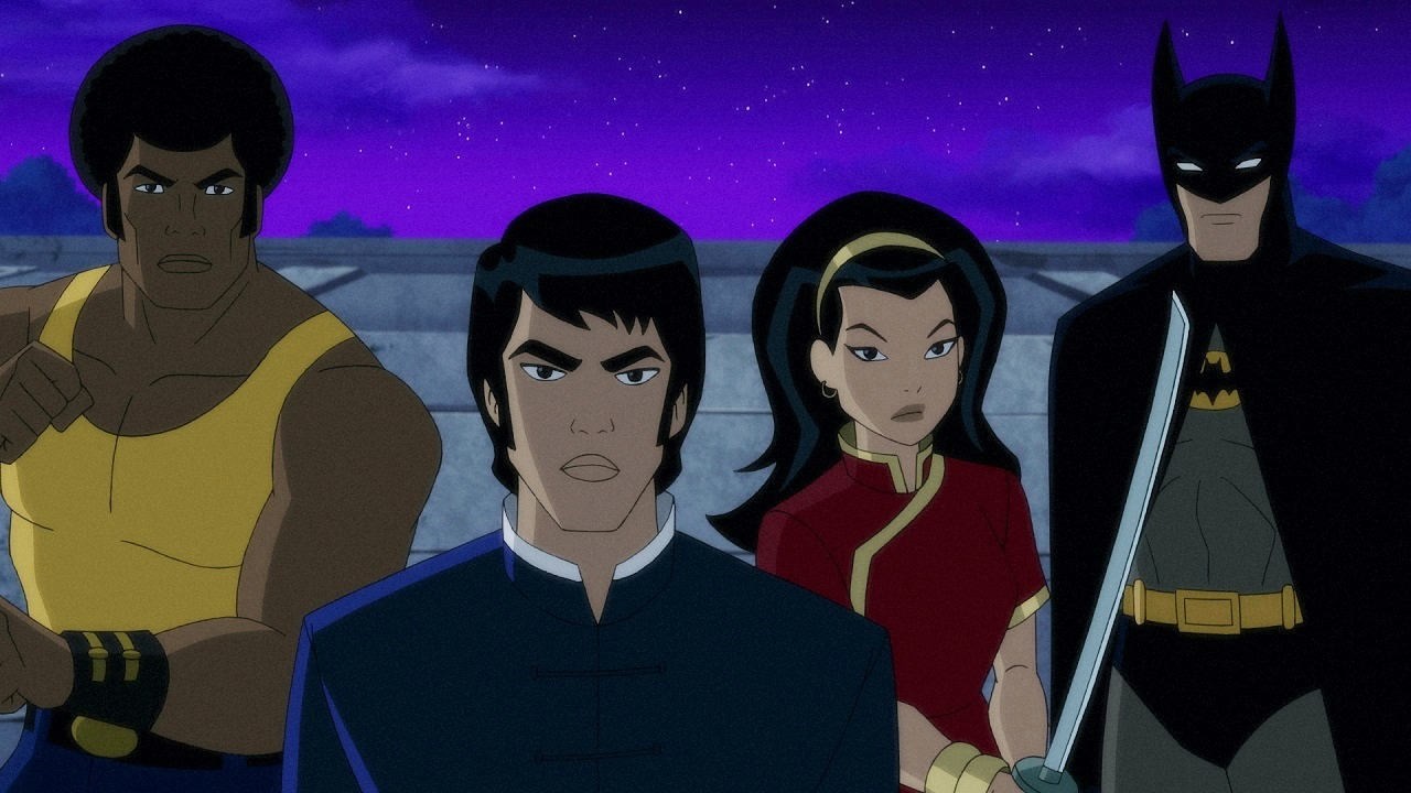 (l to r) Ben Turner (voiced by Michael Jai White), Richard Dragon (voiced by Mark Dacascos), Lady Shiva (voiced by Kelly Hu) and Batman (voiced by David Giuntoli) in Batman: Soul of the Dragon (2021)