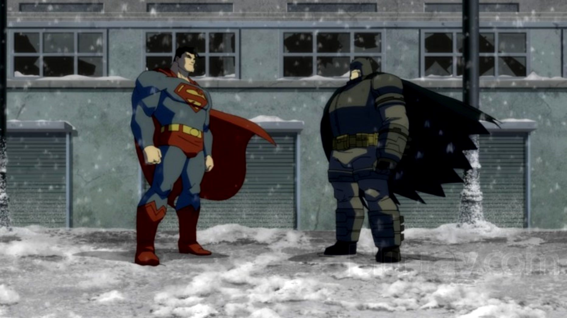 Showdown between Superman and Batman in Batman The Dark Knight Returns Part II (2013)