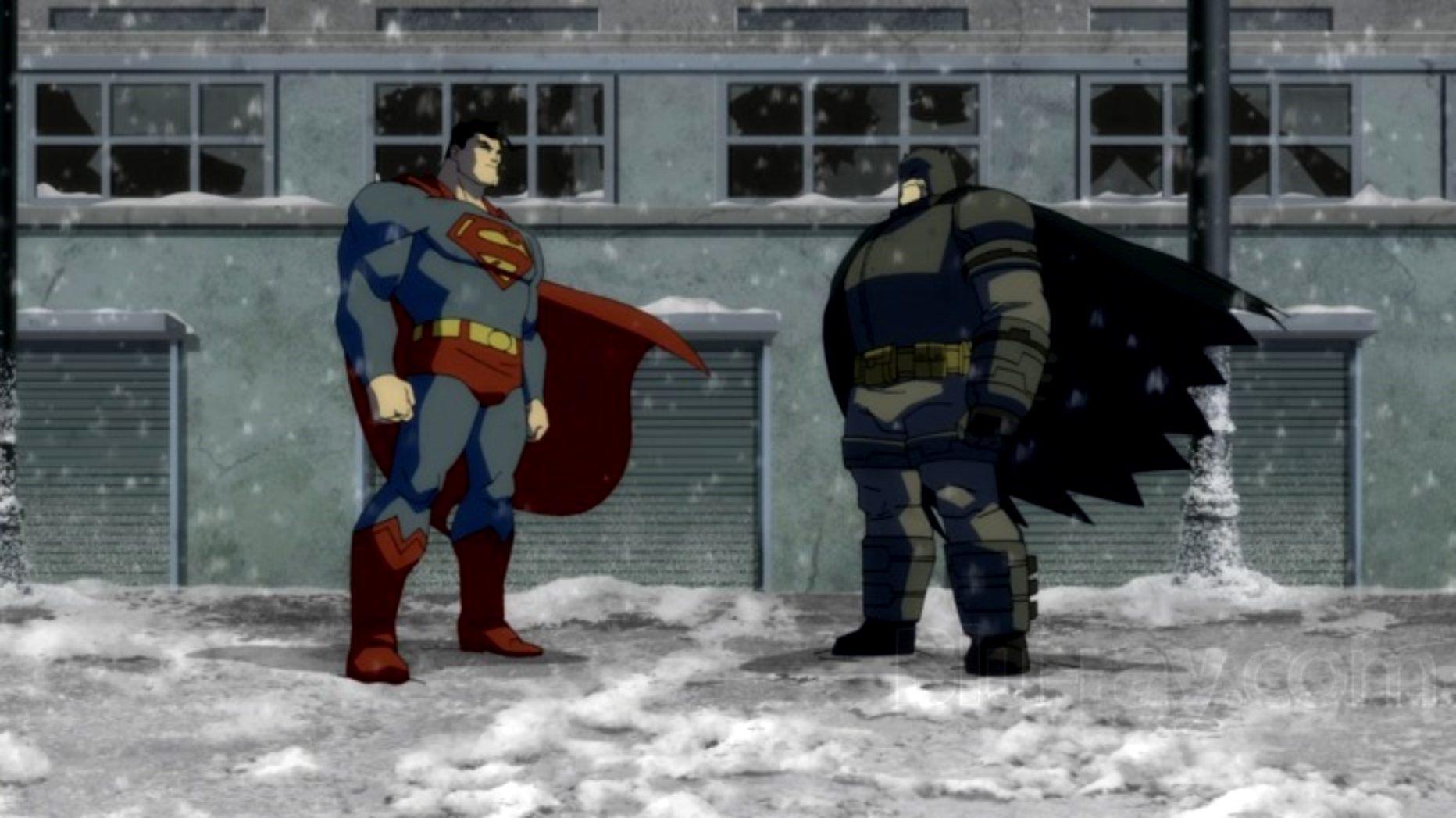 Showdown between Superman and Batman in Batman The Dark Knight Returns Part II (2013)
